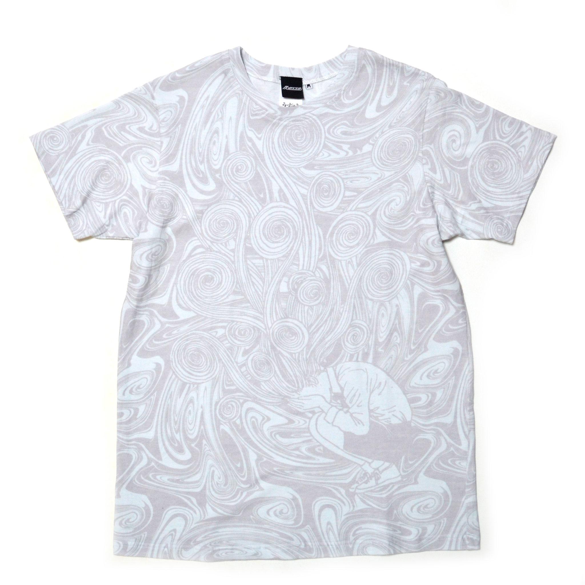桐絵うずまき総柄Tシャツ-P- (WHITE×GRAY) 前面