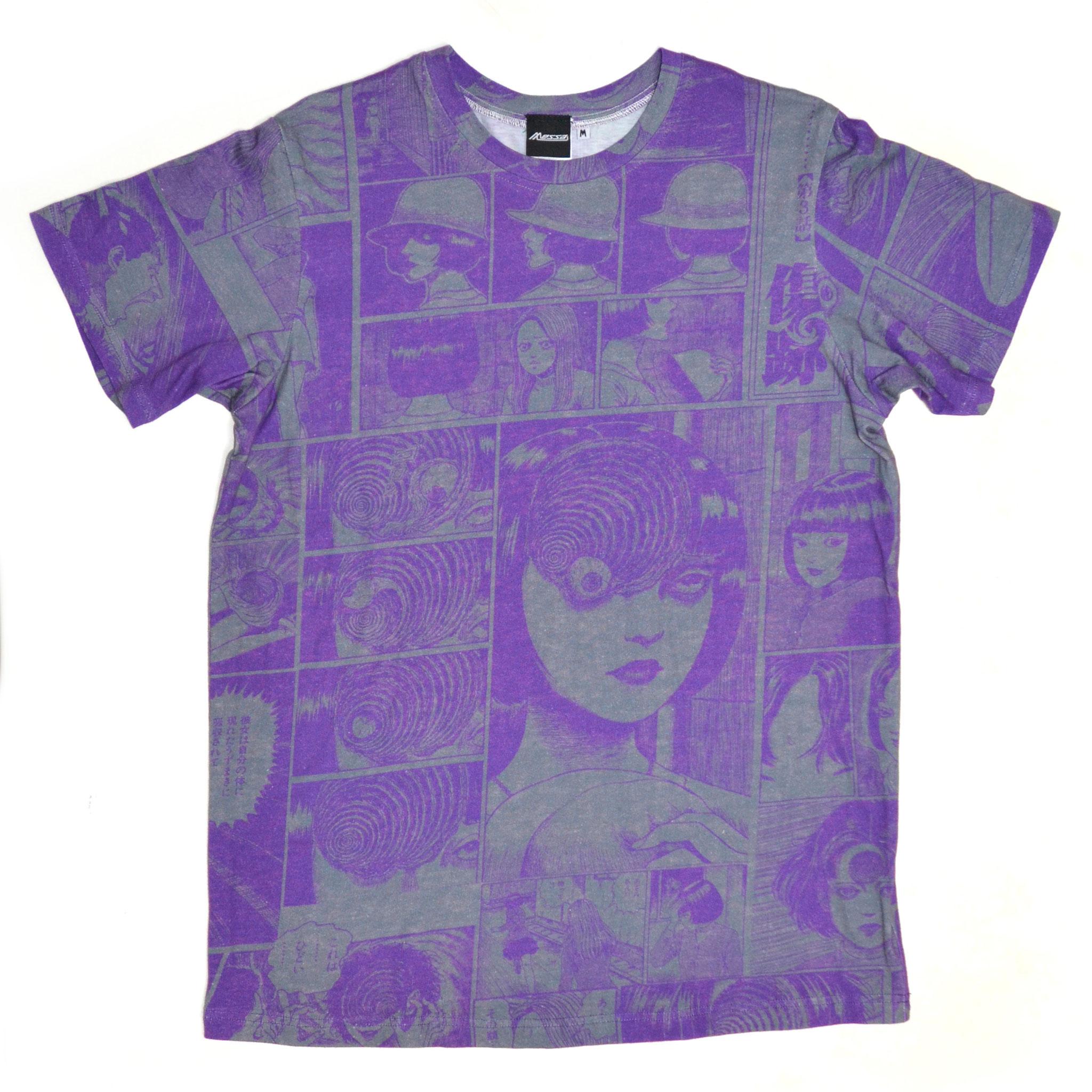 あざみ総柄Tシャツ-P- (PURPLE×GRAY) 前面