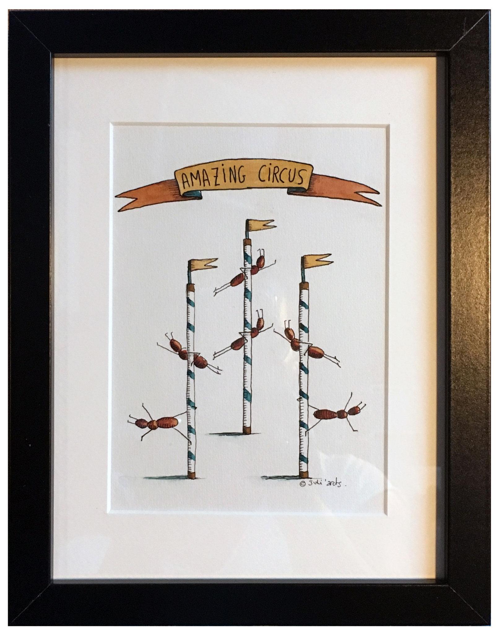 """""""Amazing Circus B"""" ©Julia Ratsimandresy / Aquarelle originale encadrée / Cadre bois noir+verre 23,5x32,5 cm / 65€ hors fdp /Exemplaire unique!"""