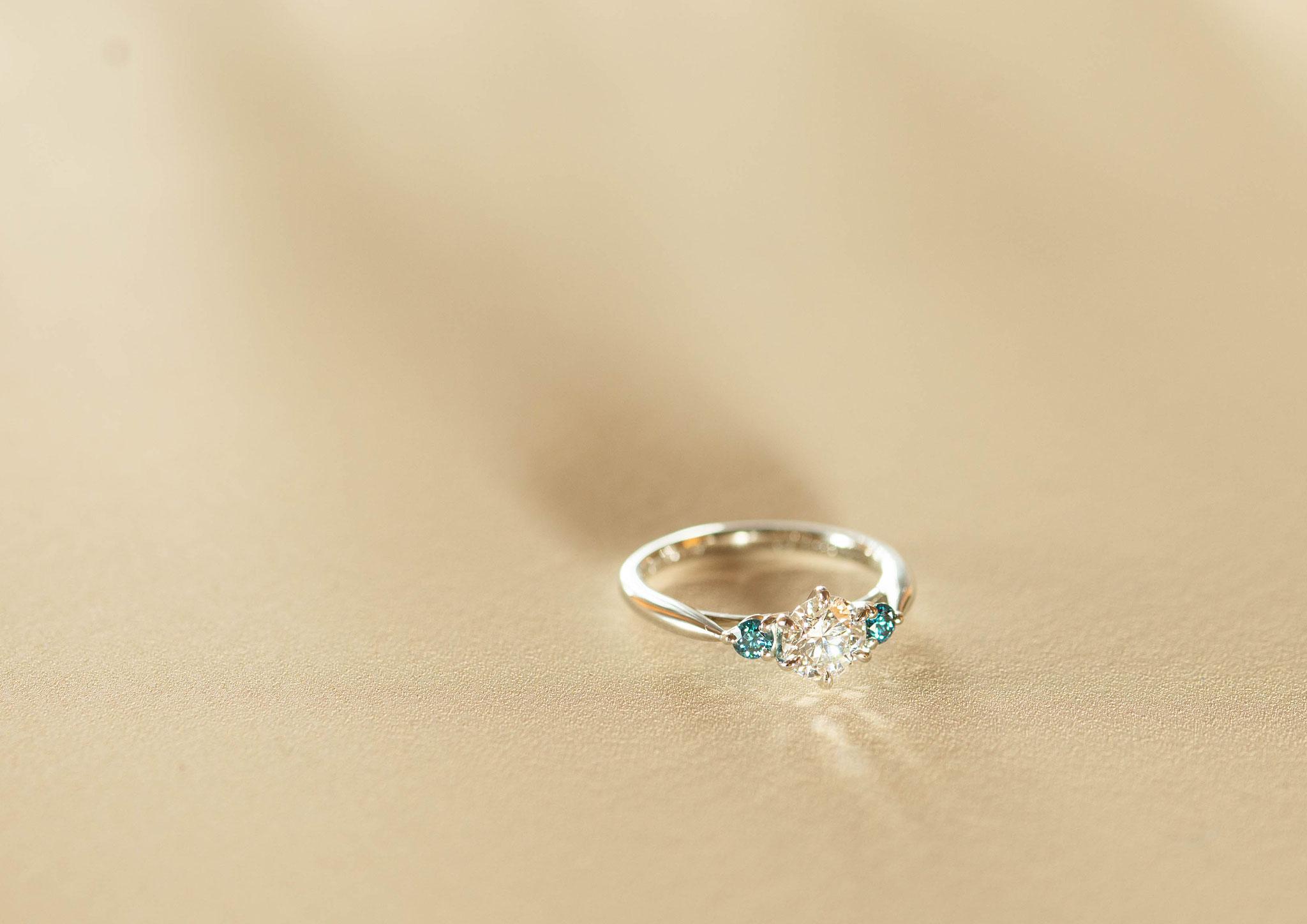 フルオーダーリフォーム 持ち込み石 ダイヤモンド 0.502ct   【Pt950×ブルートリートメントダイヤモンド 0.12ct】