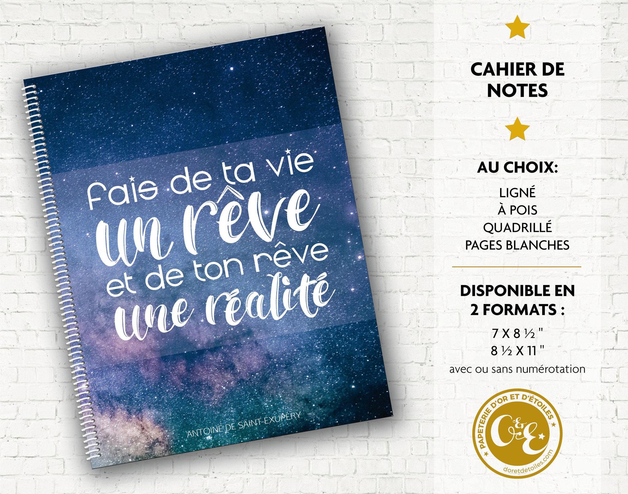 Cahier de notes de Papeterie d'Or et d'Étoiles