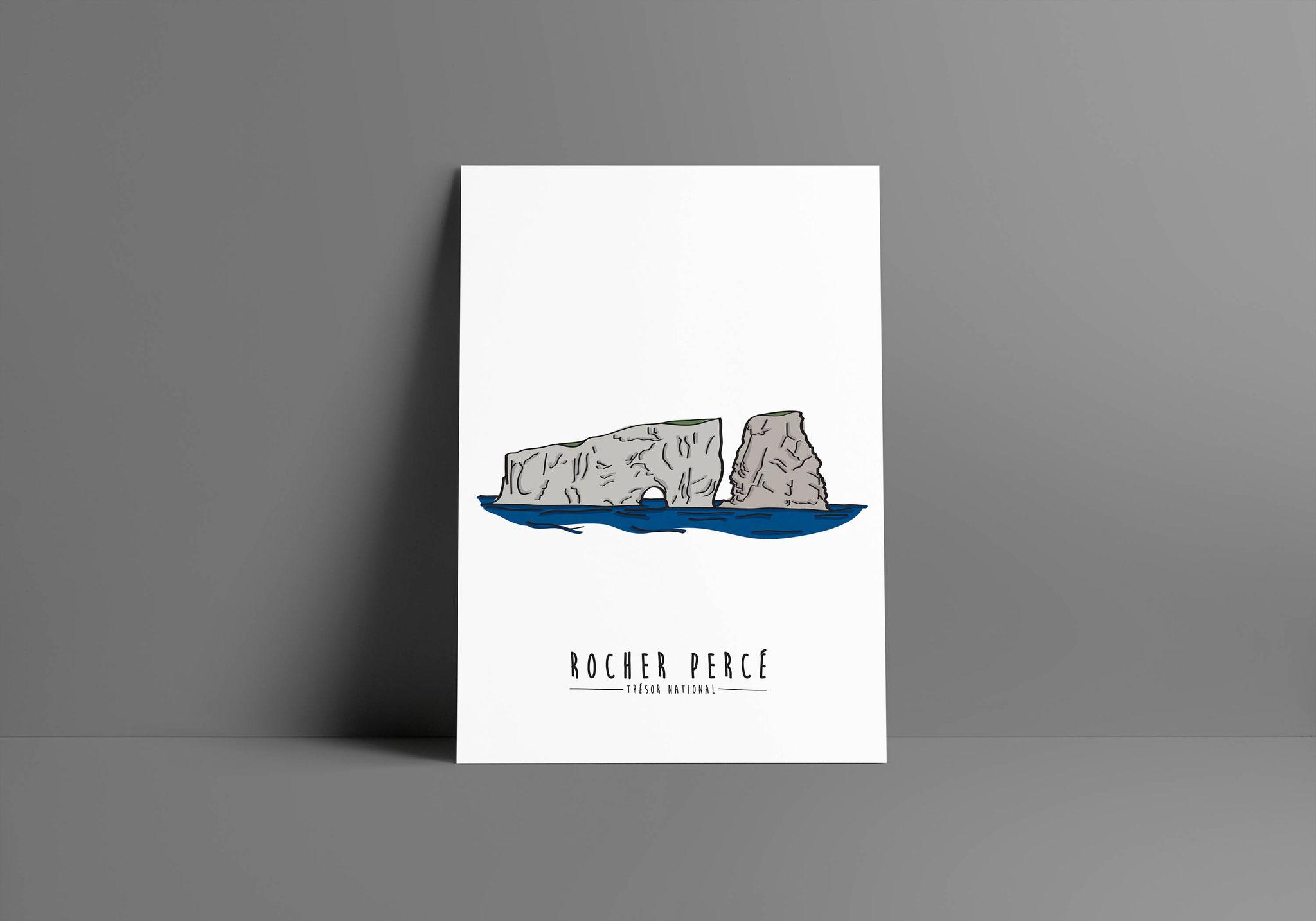 Illustration du célèbre Rocher Percé, créée par Fleurmaisonco