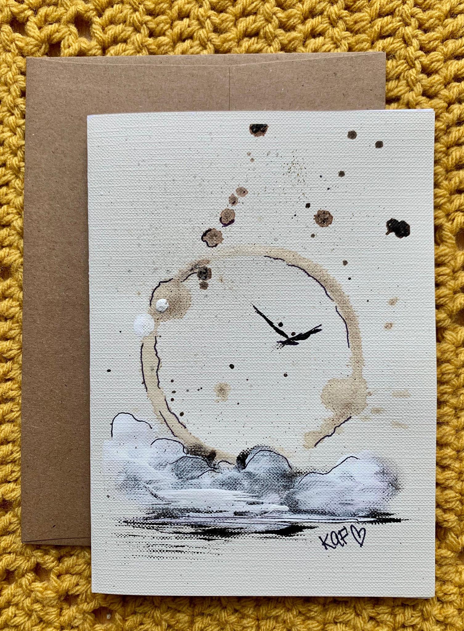 Carte à souhaits, acrylique et café, 20$