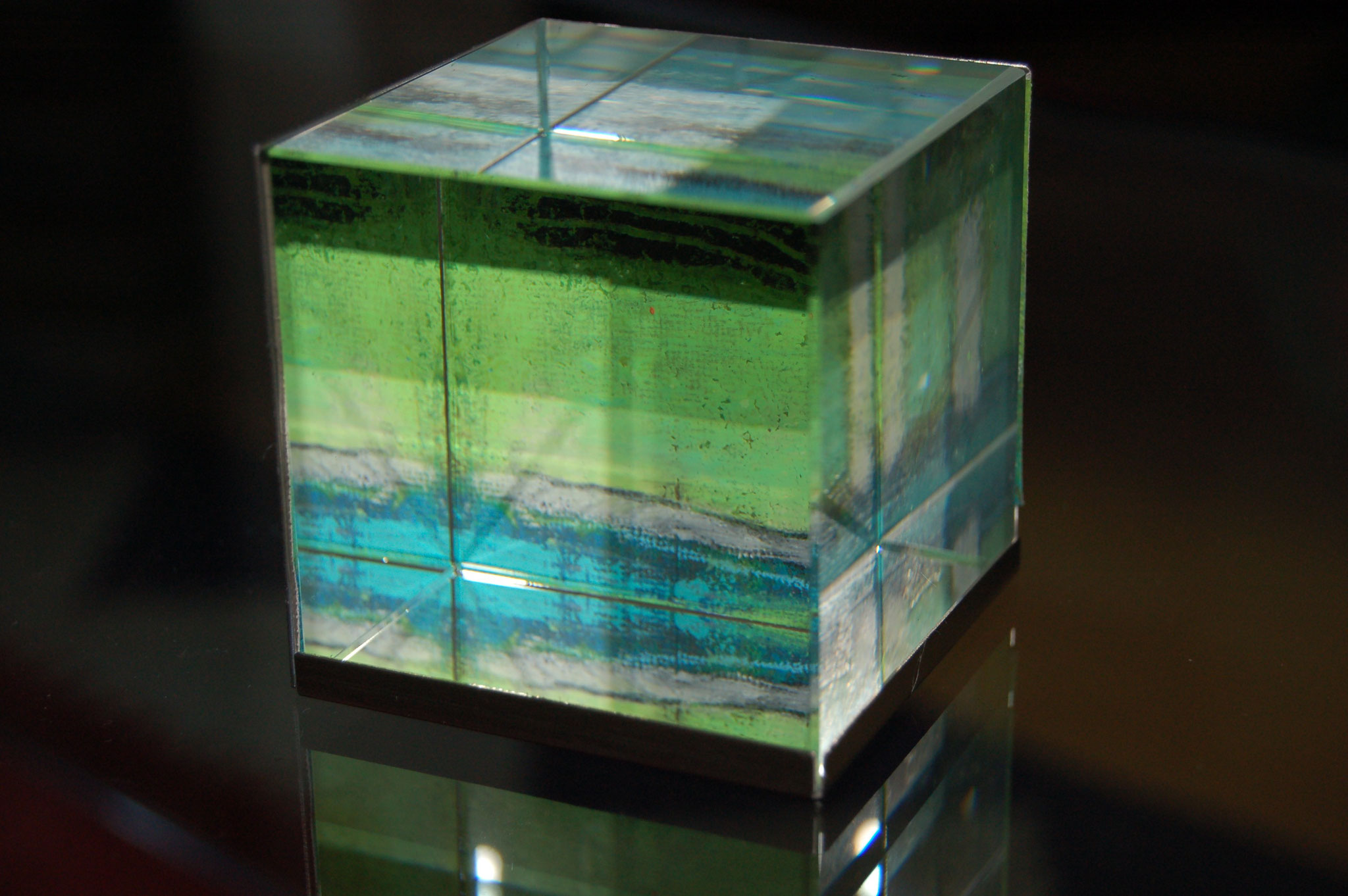 glaswürfel, acryl auf leinenpapier - 7 x 7
