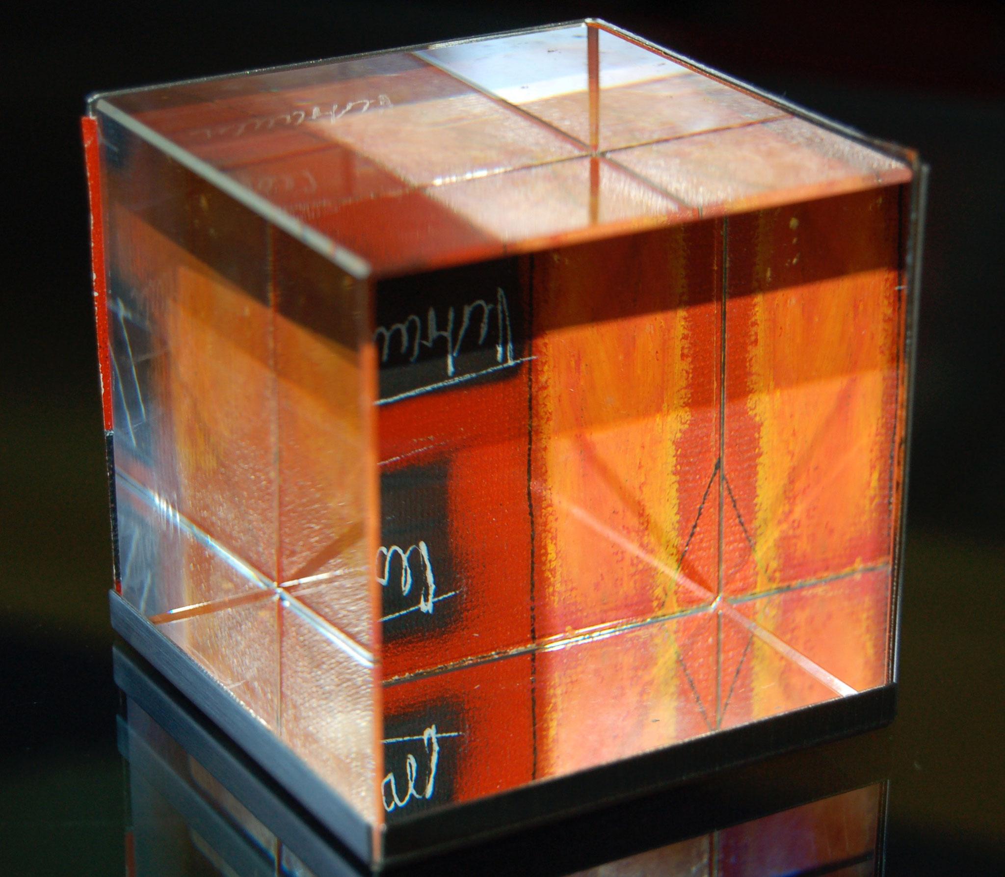 glauswürfel, acryl auf leinenpapier - 7 x 7