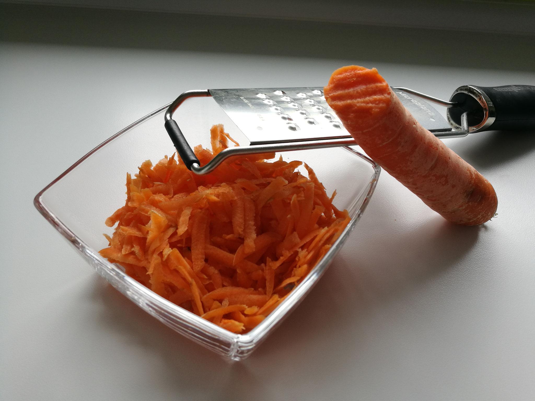 Geraspelte Karotten für Zahnpatienten