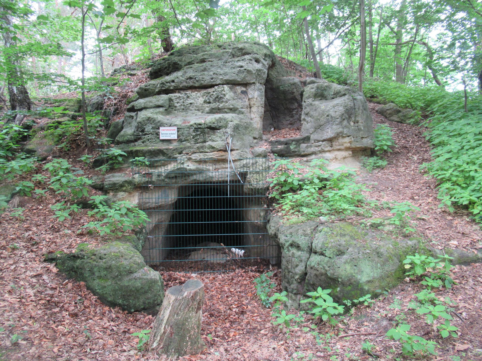 Die Pfennighöhle bei Halberstadt  -Ostseite mit der Wächterhöhle darüber