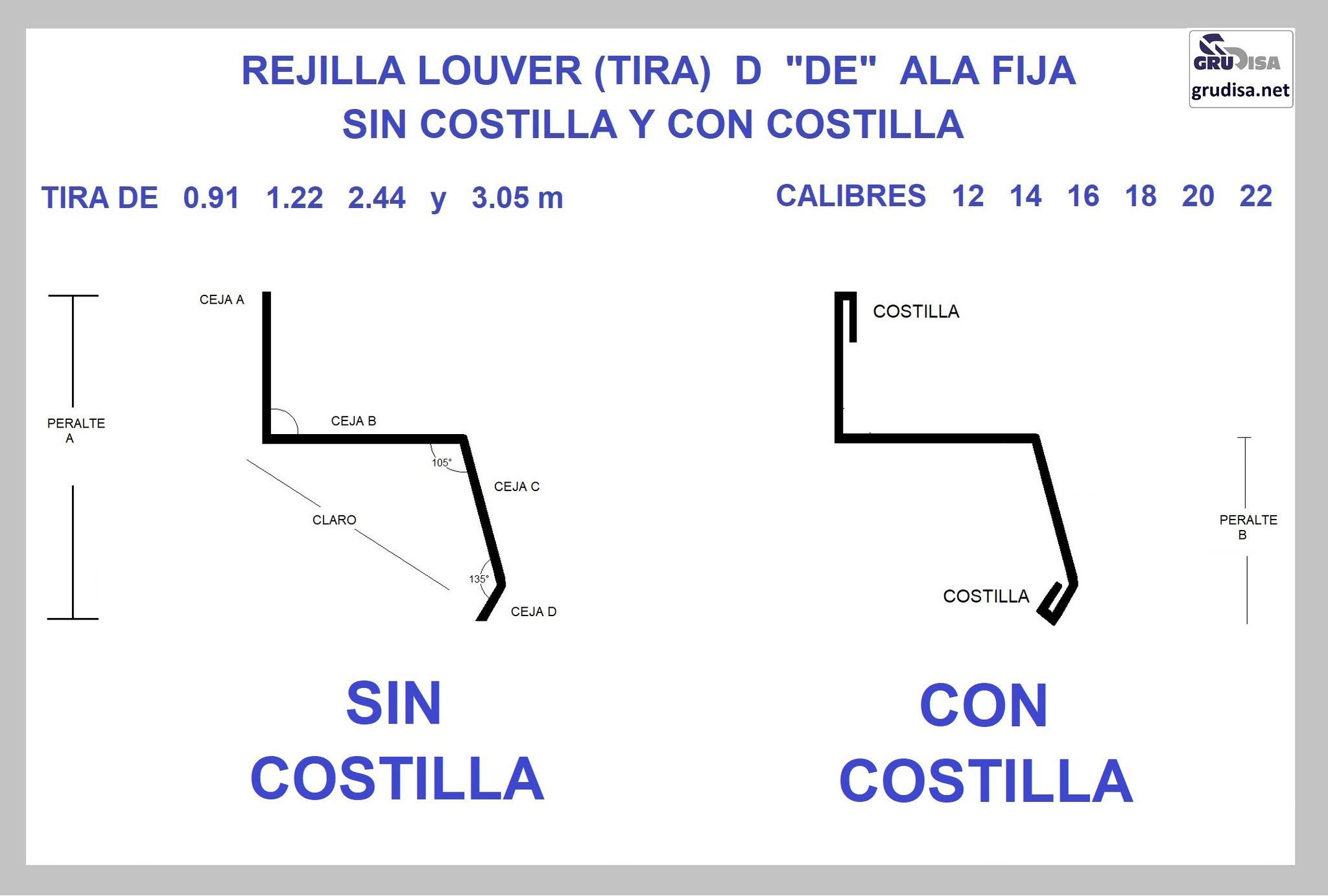 """REJILLA LOUVER (TIRA) """"D"""" CON y SIN COSTILLA GruDisA"""