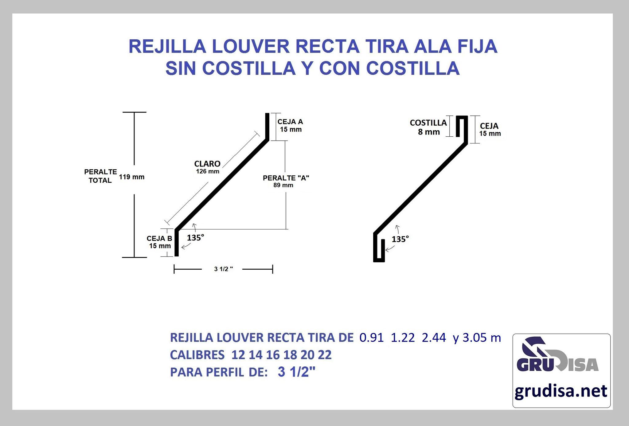 """REJILLA LOUVER (TIRA) RECTA PARA PERFIL DE 3 1/2"""" GruDisA"""