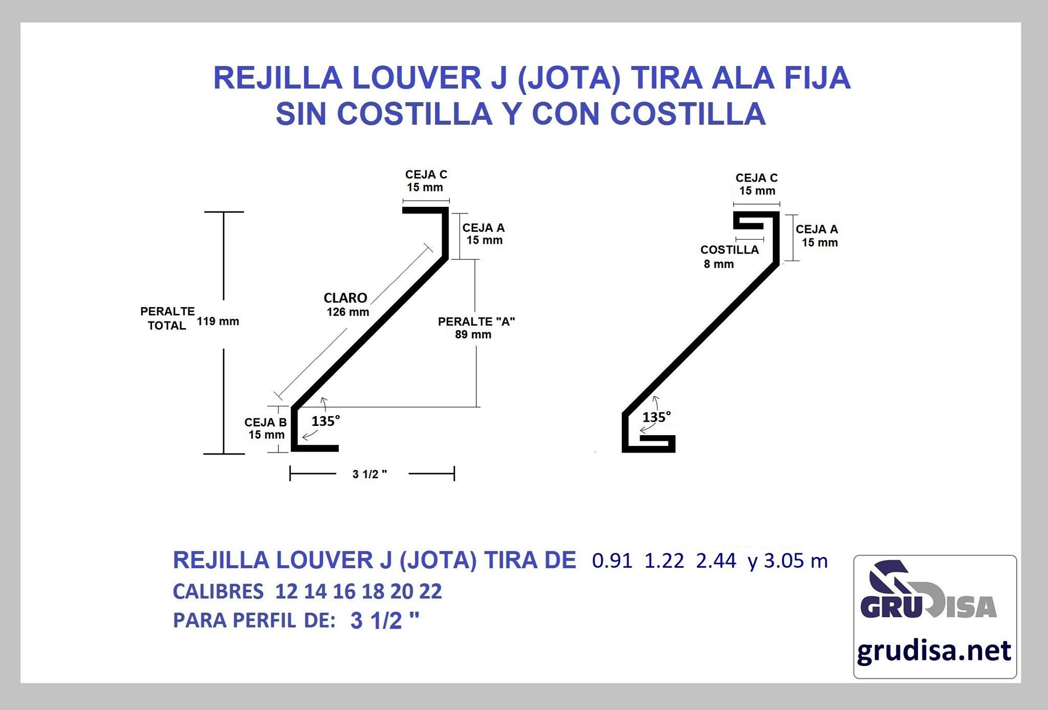 "TIRA PARA REJILLA LOUVER JOTA PARA PERFIL DE 3 1/2"""