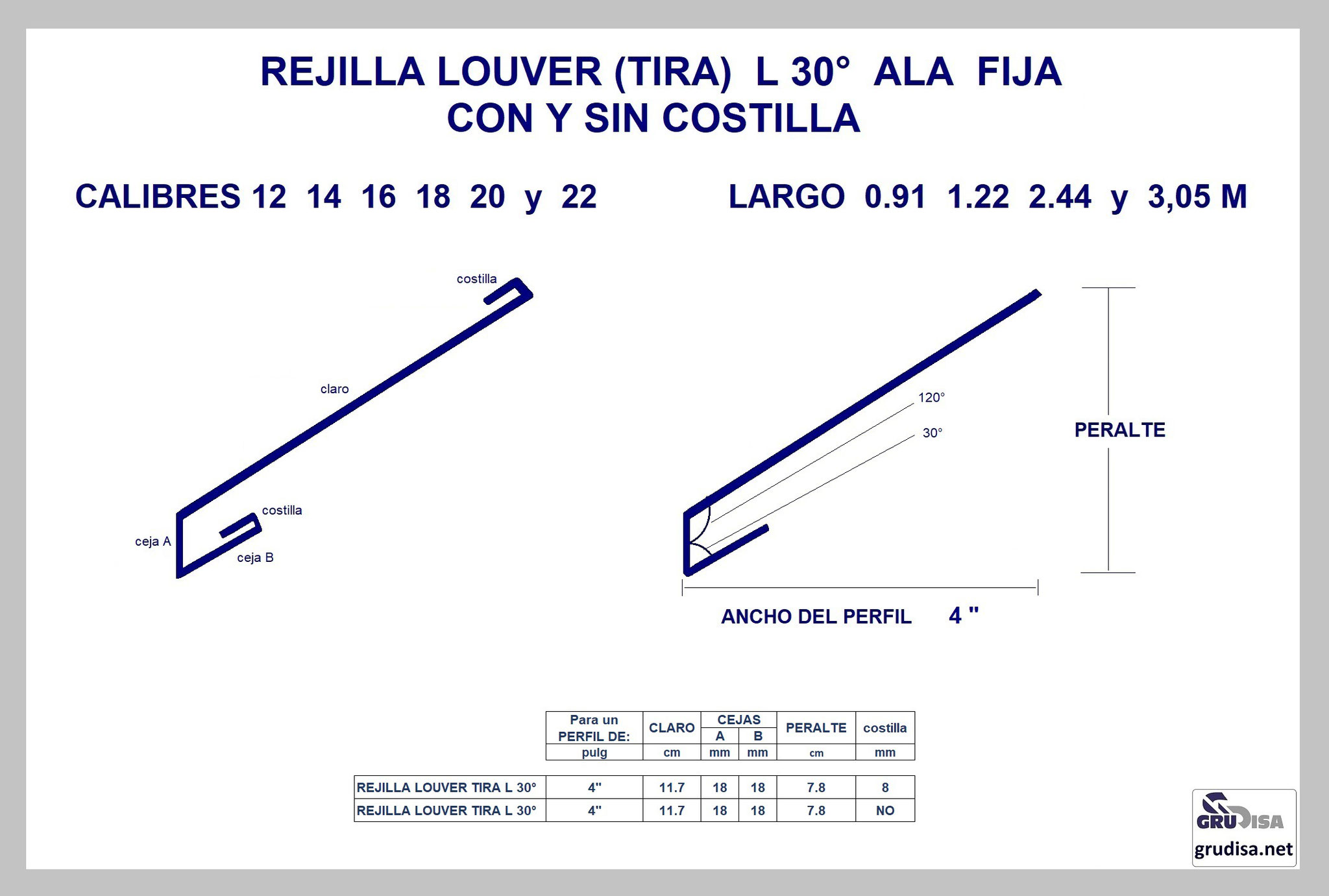 """REJILLA LOUVER (TIRA) L 30° Para PERFIL de 4"""" CON y SIN COSTILLA"""