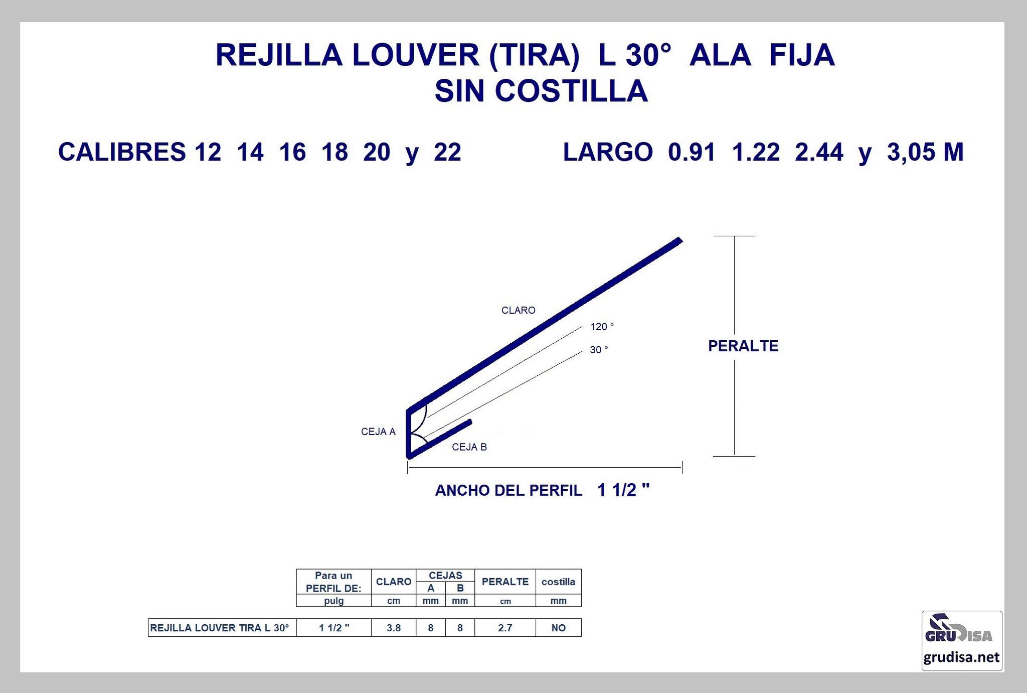 """REJILLA LOUVER (TIRA) L 30° Para PERFIL de 1 1/2"""" SIN COSTILLA"""