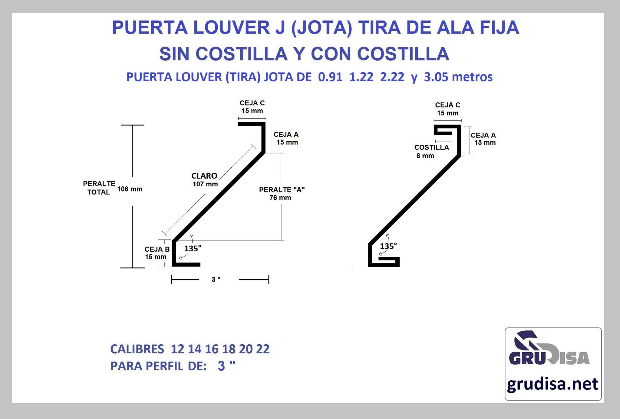 """PUERTA LOUVER (TIRA) J JOTA PARA PERFIL DE 3"""" CON Y SIN COSTILLA LARGOS DE 0.91  1.22  2.44  y 3.05m"""