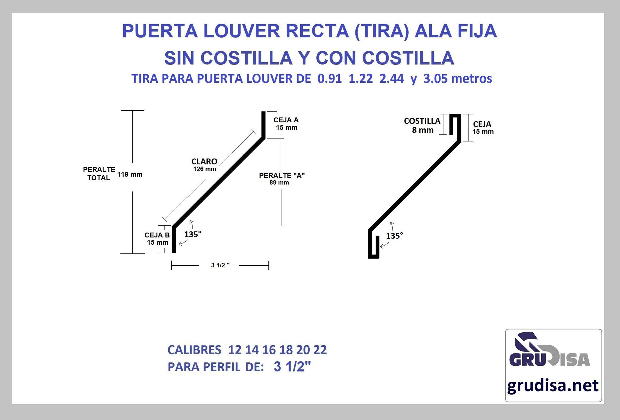 """PUERTA LOUVER (TIRA) MODELO RECTA PARA ARMAR EN PERFIL DE 3 1/2"""""""