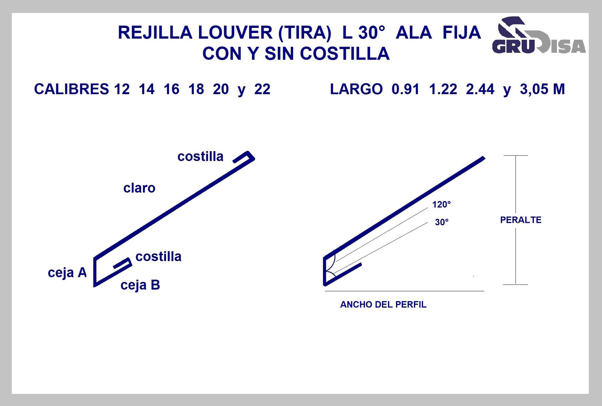 REJILLA LOUVER (TIRA) L 30°