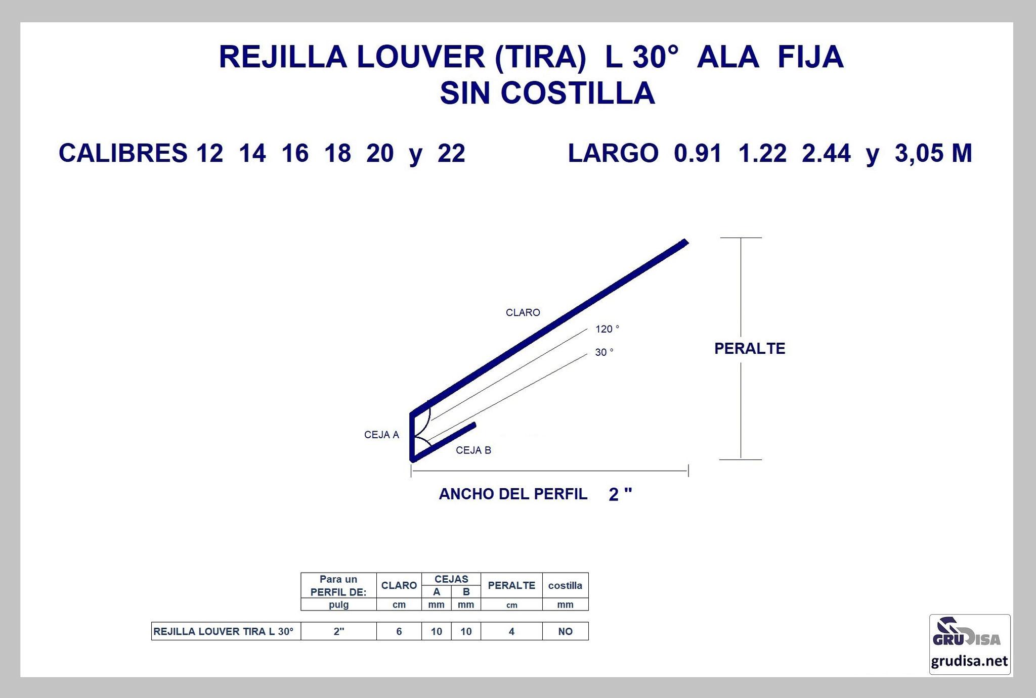 """REJILLA LOUVER (TIRA) L 30° Para PERFIL de 2"""" SIN COSTILLA"""