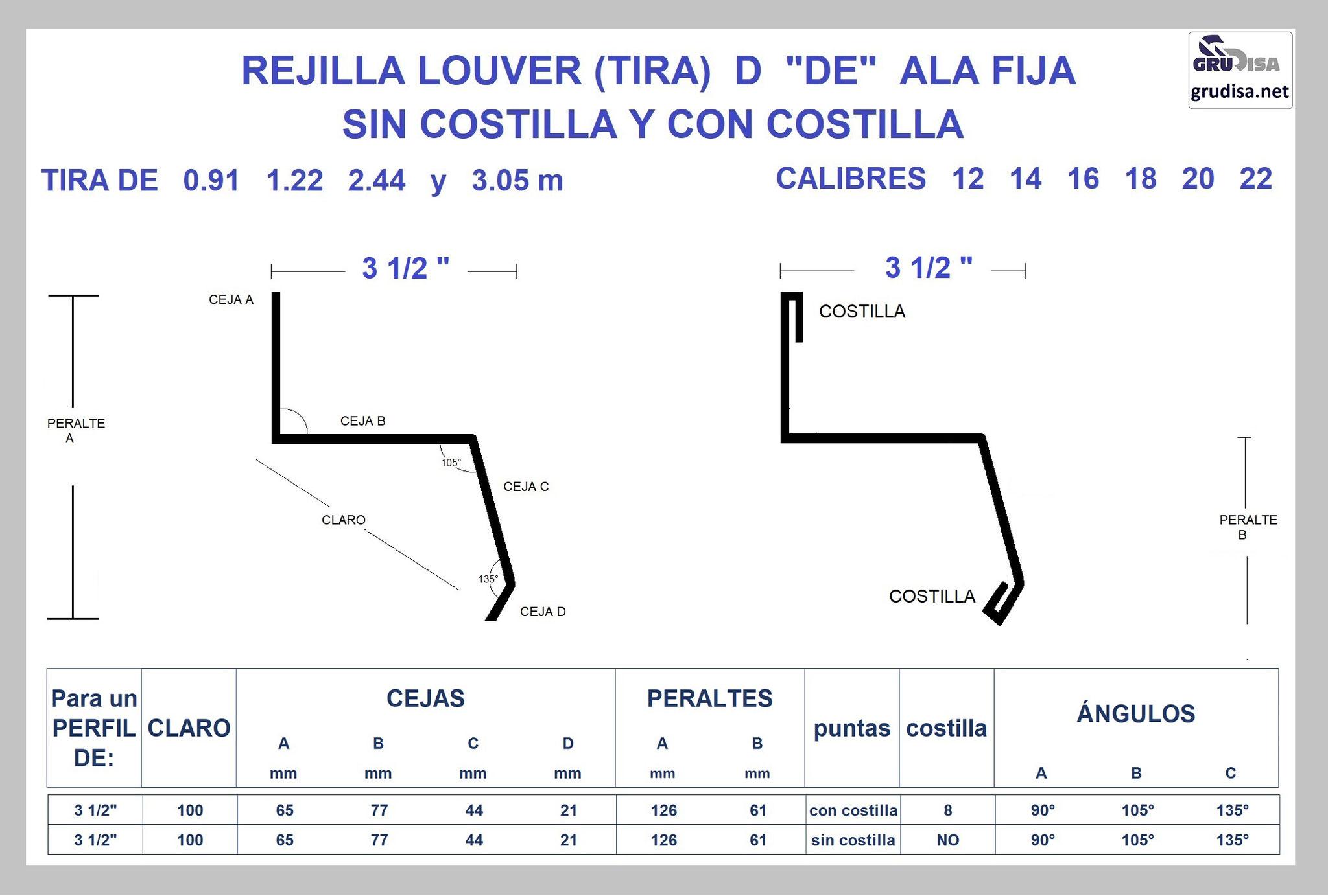 """REJILLA LOUVER (TIRA) """"D"""" PARA PERFIL DE 3 1/2"""" GruDisA"""