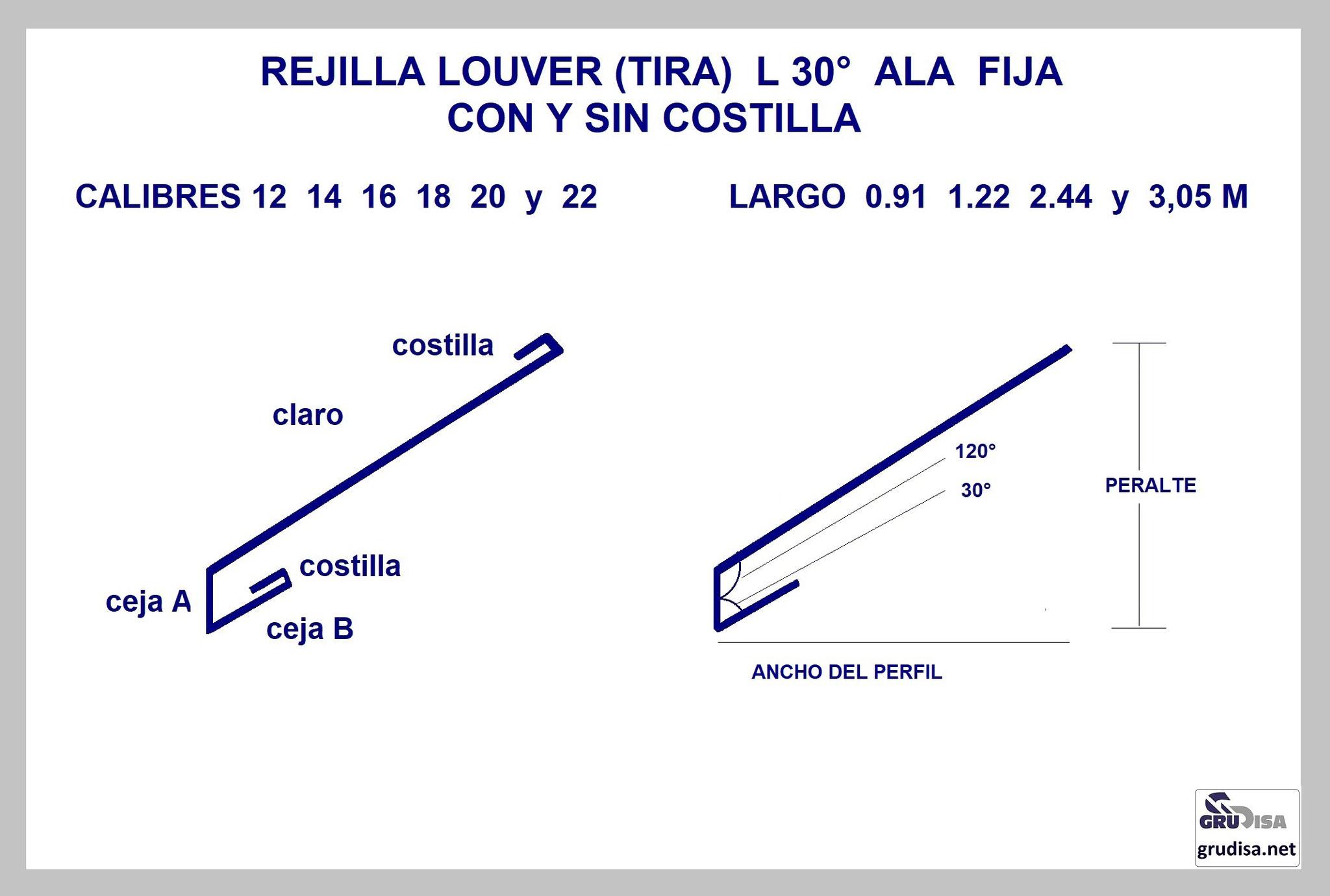 REJILLA LOUVER (TIRA) L 30° CON y SIN COSTILLA