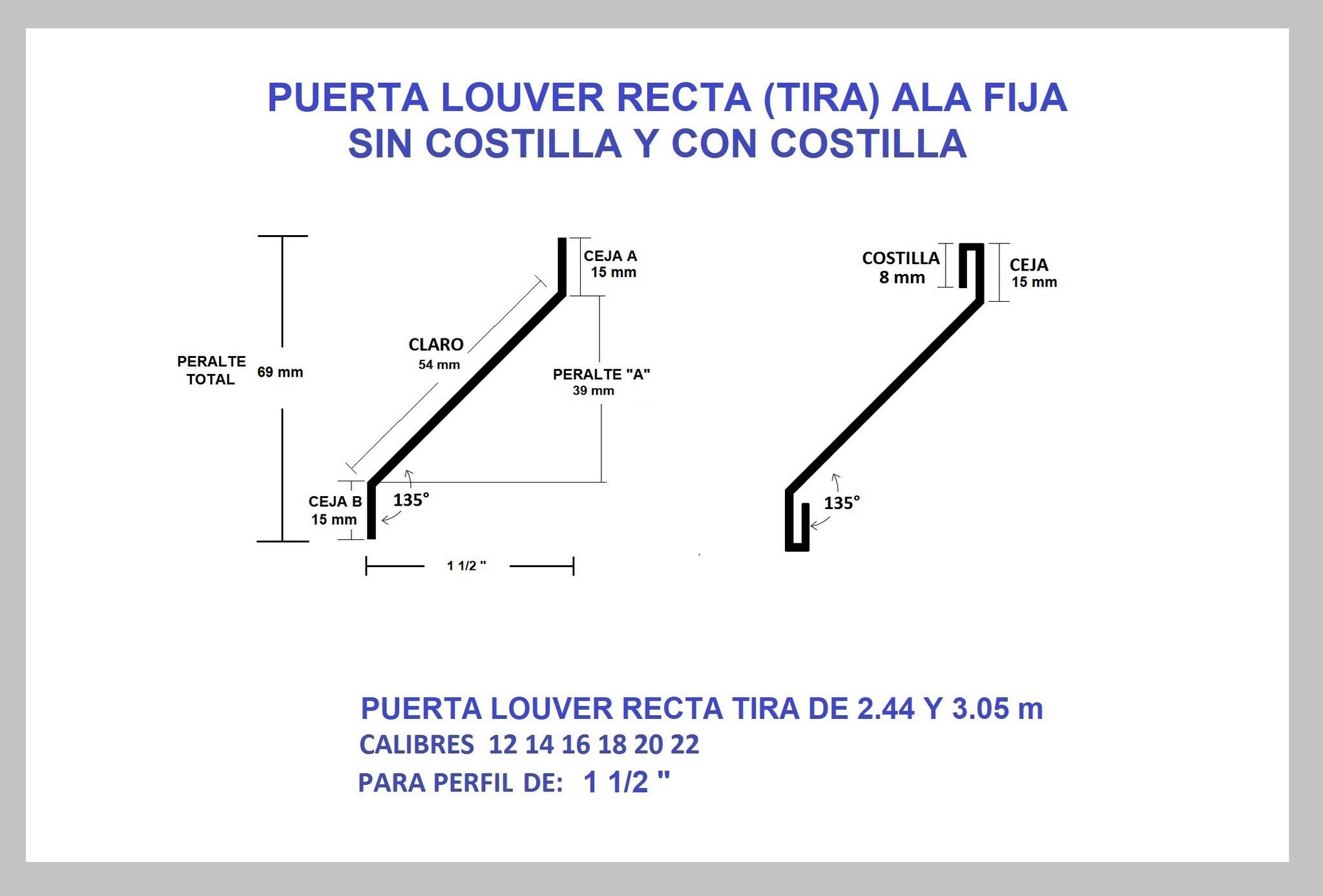 REJILLA LOUVER (TIRA) RECTA