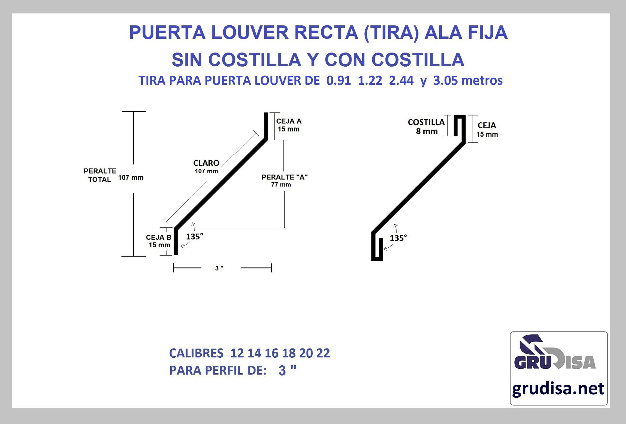 """PUERTA LOUVER (TIRA) MODELO RECTA PARA ARMAR EN PERFIL DE 3"""""""