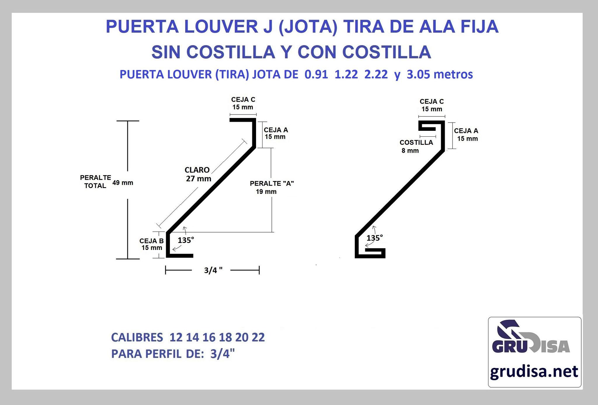 """PUERTA LOUVER (TIRA) J JOTA PARA PERFIL DE 3/4"""" CON Y SIN COSTILLA LARGOS DE 0.91  1.22  2.44  y 3.05m"""
