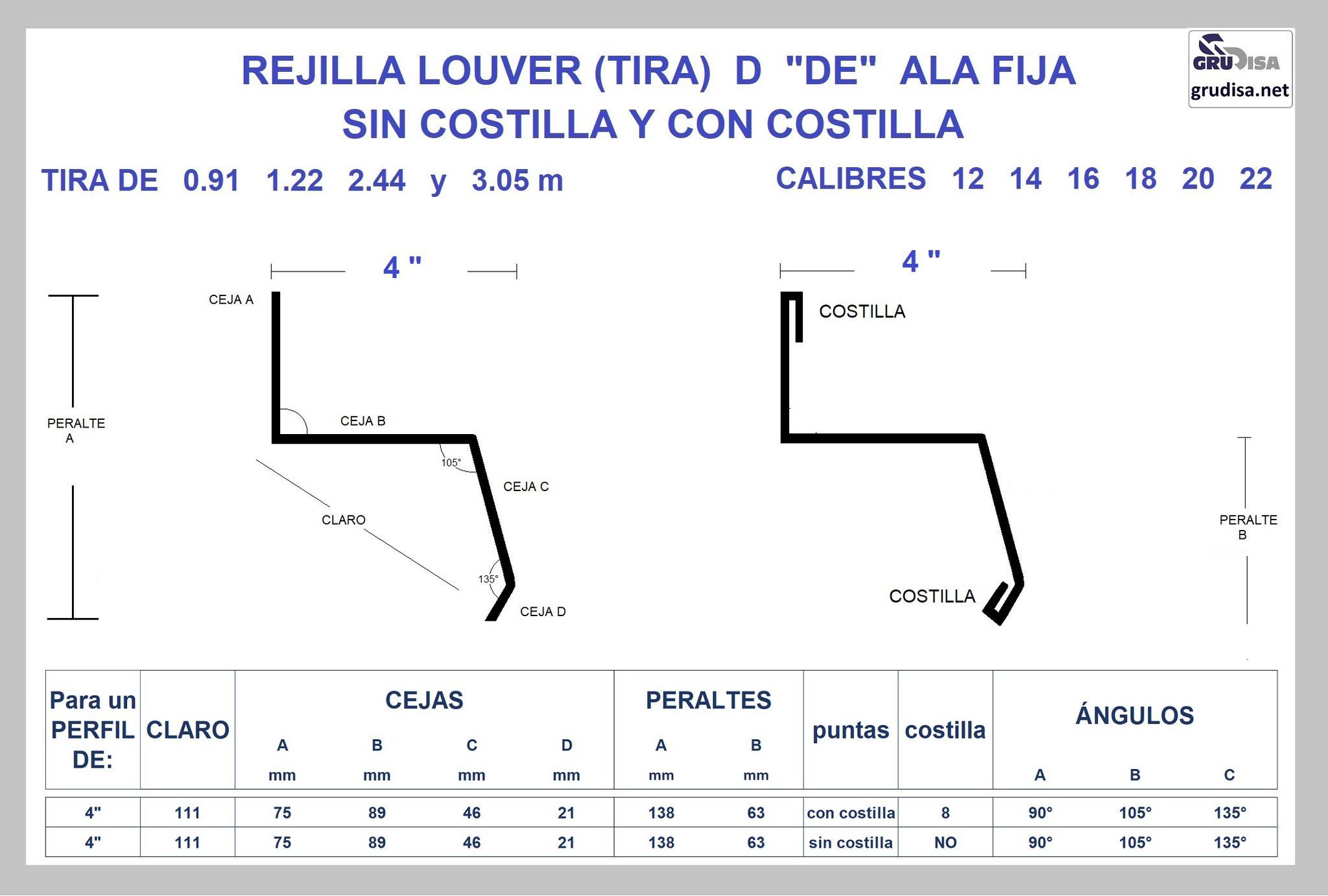 """REJILLA LOUVER (TIRA) """"D"""" PARA PERFIL DE 4"""" GruDisA"""