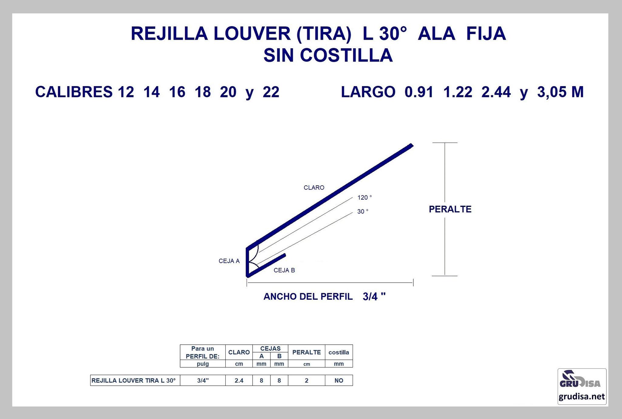 """REJILLA LOUVER (TIRA) L 30° Para PERFIL de 3/4"""" SIN COSTILLA"""