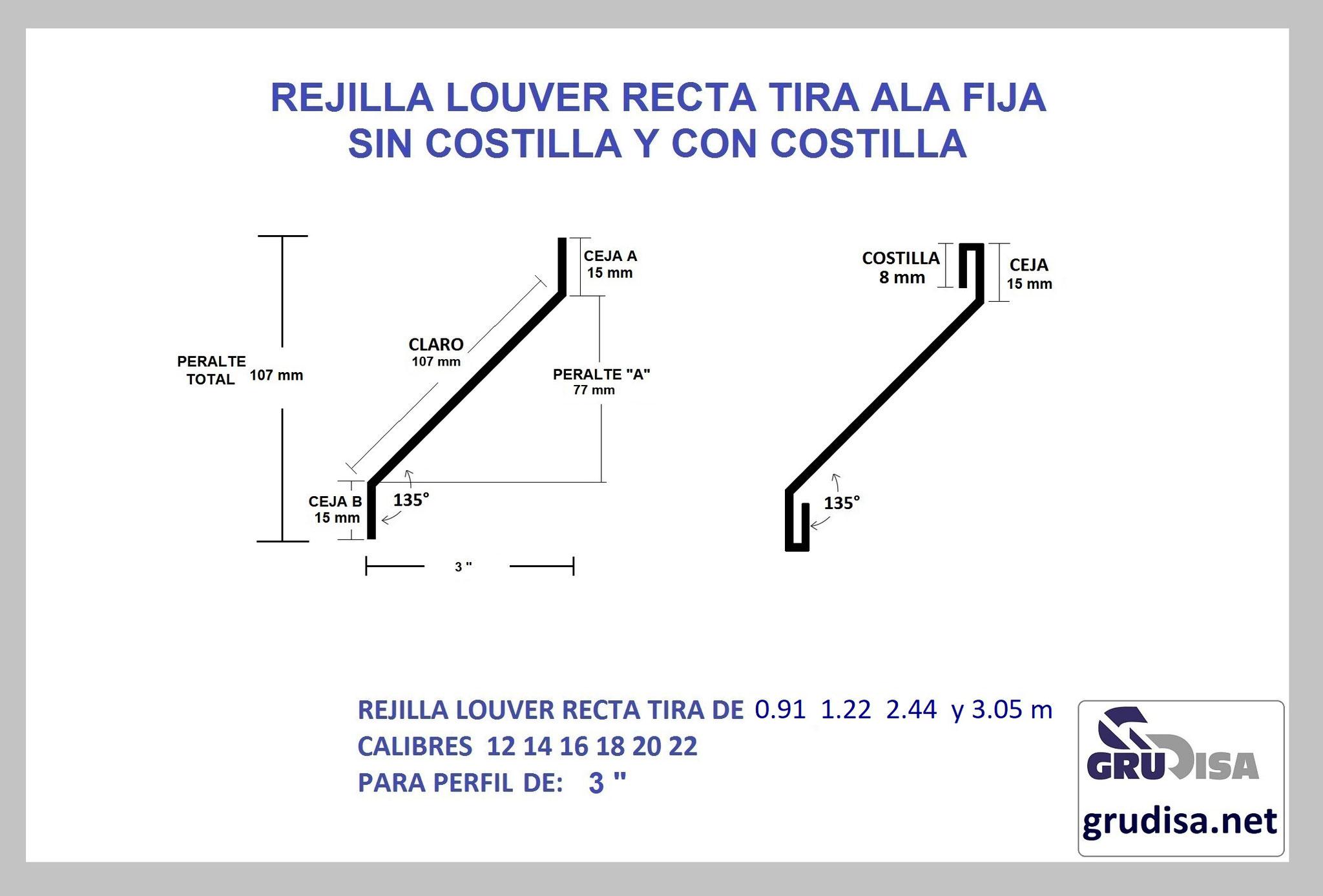"""REJILLA LOUVER (TIRA) RECTA PARA PERFIL DE 3"""" GruDisA"""