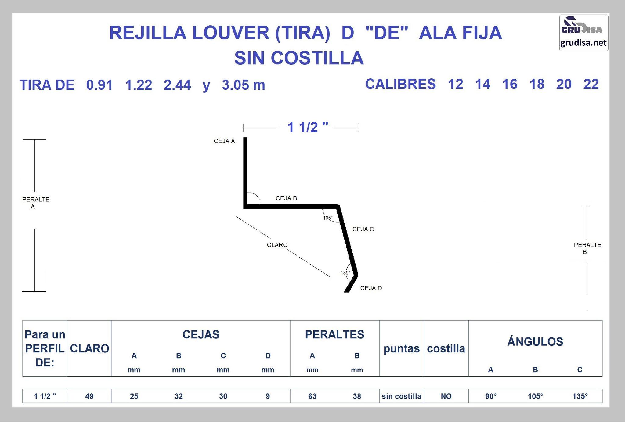 """REJILLA LOUVER (TIRA) """"D"""" PARA PERFIL DE 1 1/2"""" GruDisA"""