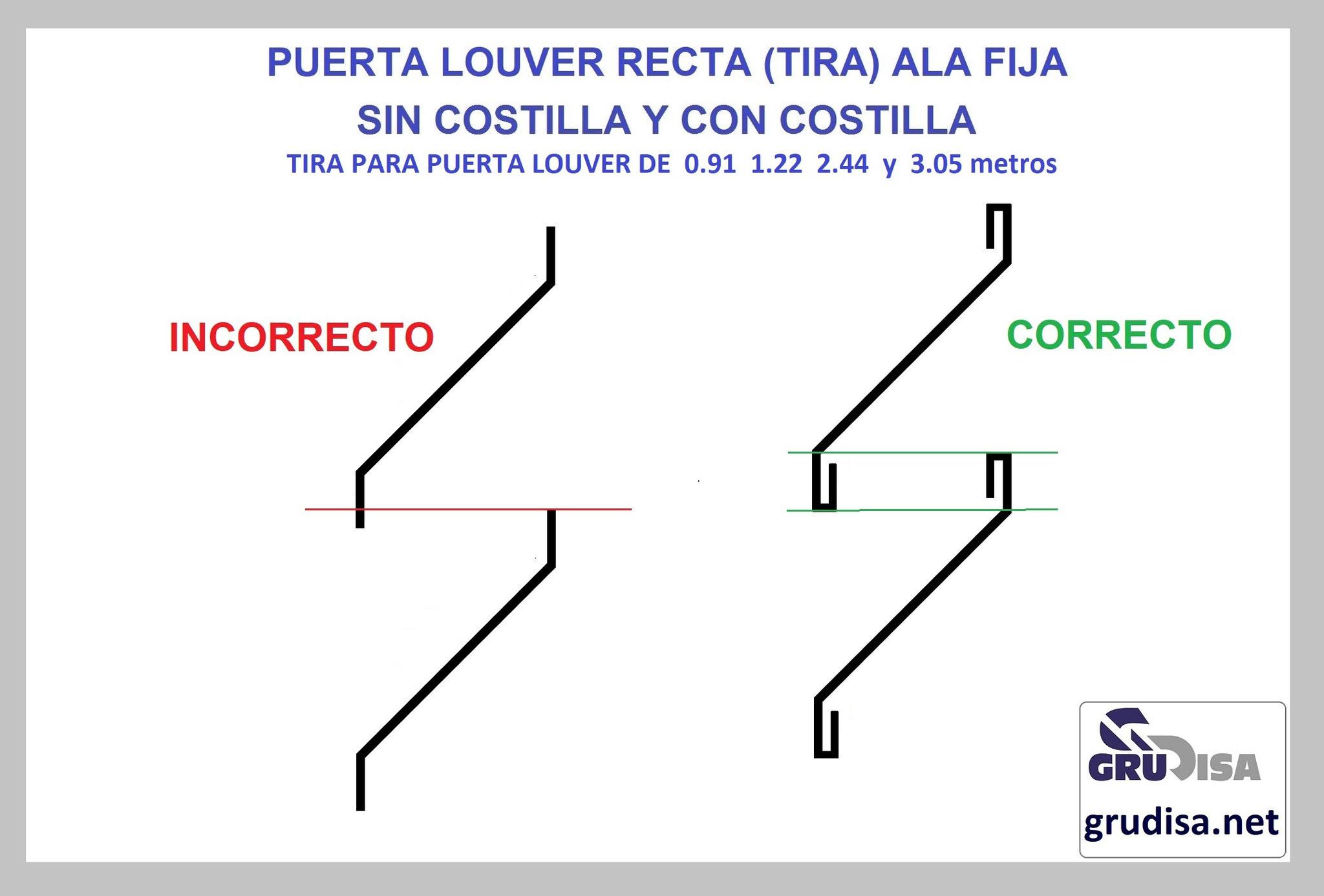 PUERTA LOUVER (TIRA) MODELO RECTA CON y SIN COSTILLA