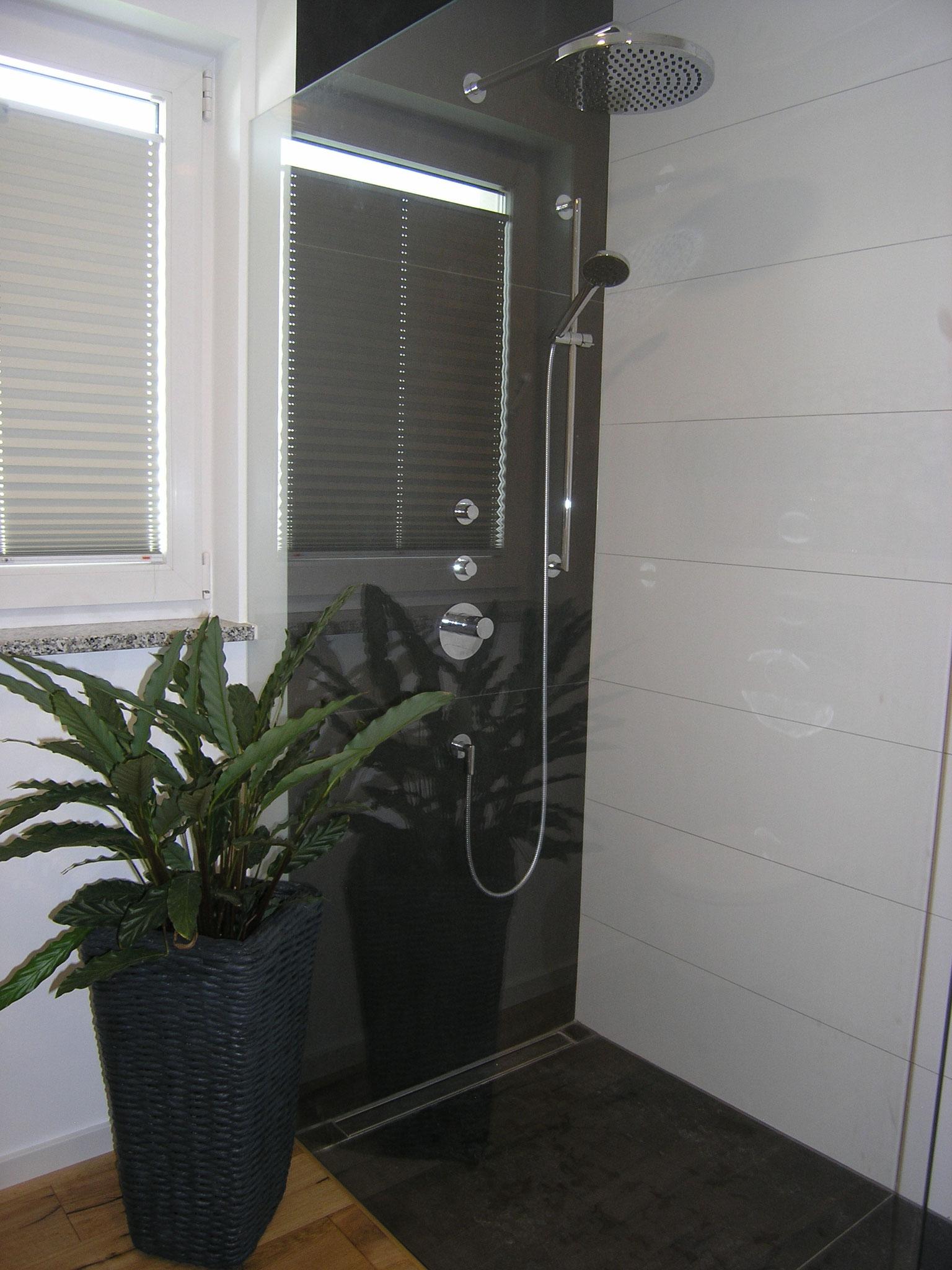 Duschbad : Glasscheibe ohne Schienen und Beschläge