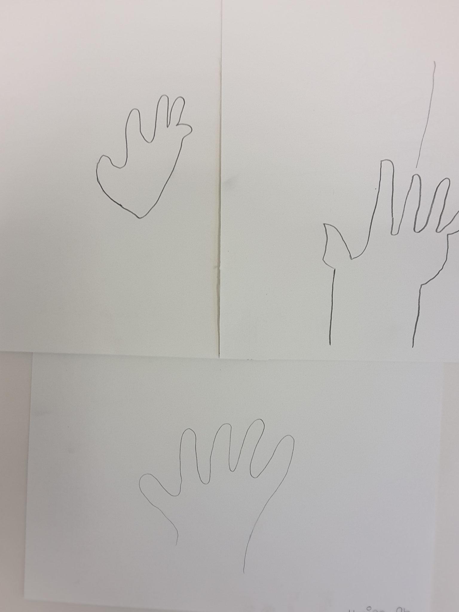 Meine Hand - blind gezeichnet