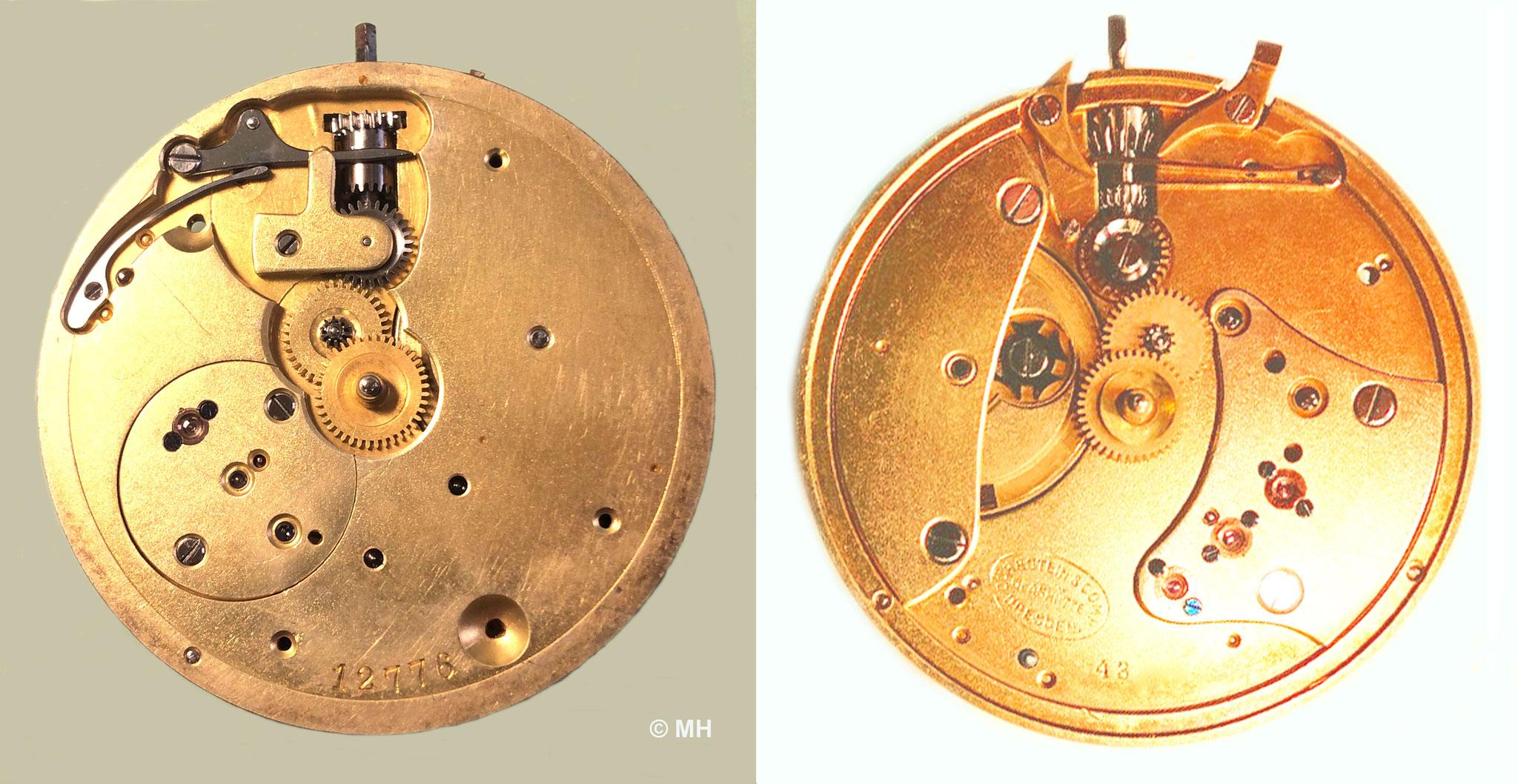 Zifferblattseitiger Werkvergleich 1893 links & 1894 rechts