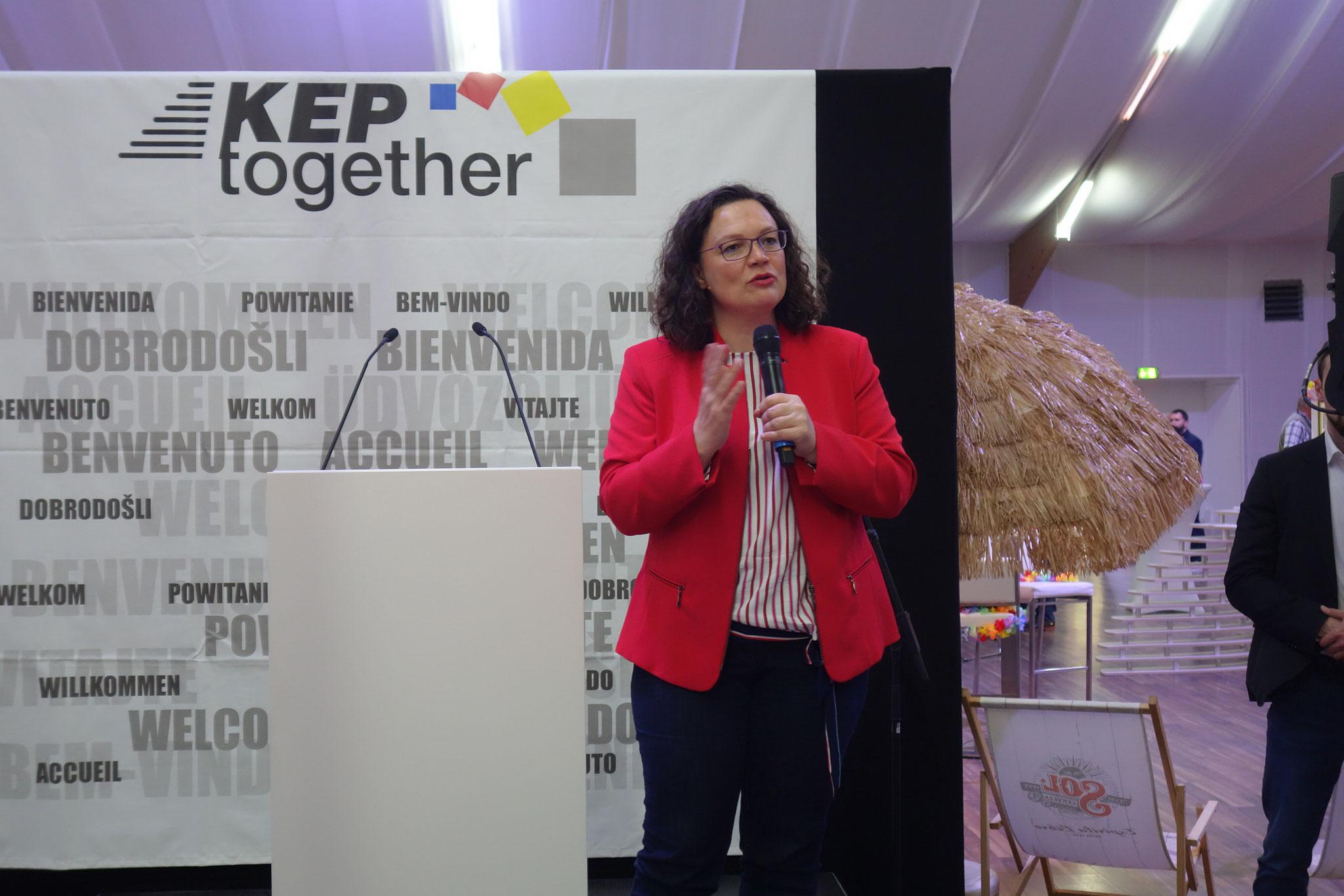 """Ein """"Zwischenruf"""" von Andrea Nahles, Partei- und Fraktionsvorsitzende der SPD, beendete die 2-tägige Veranstaltung."""