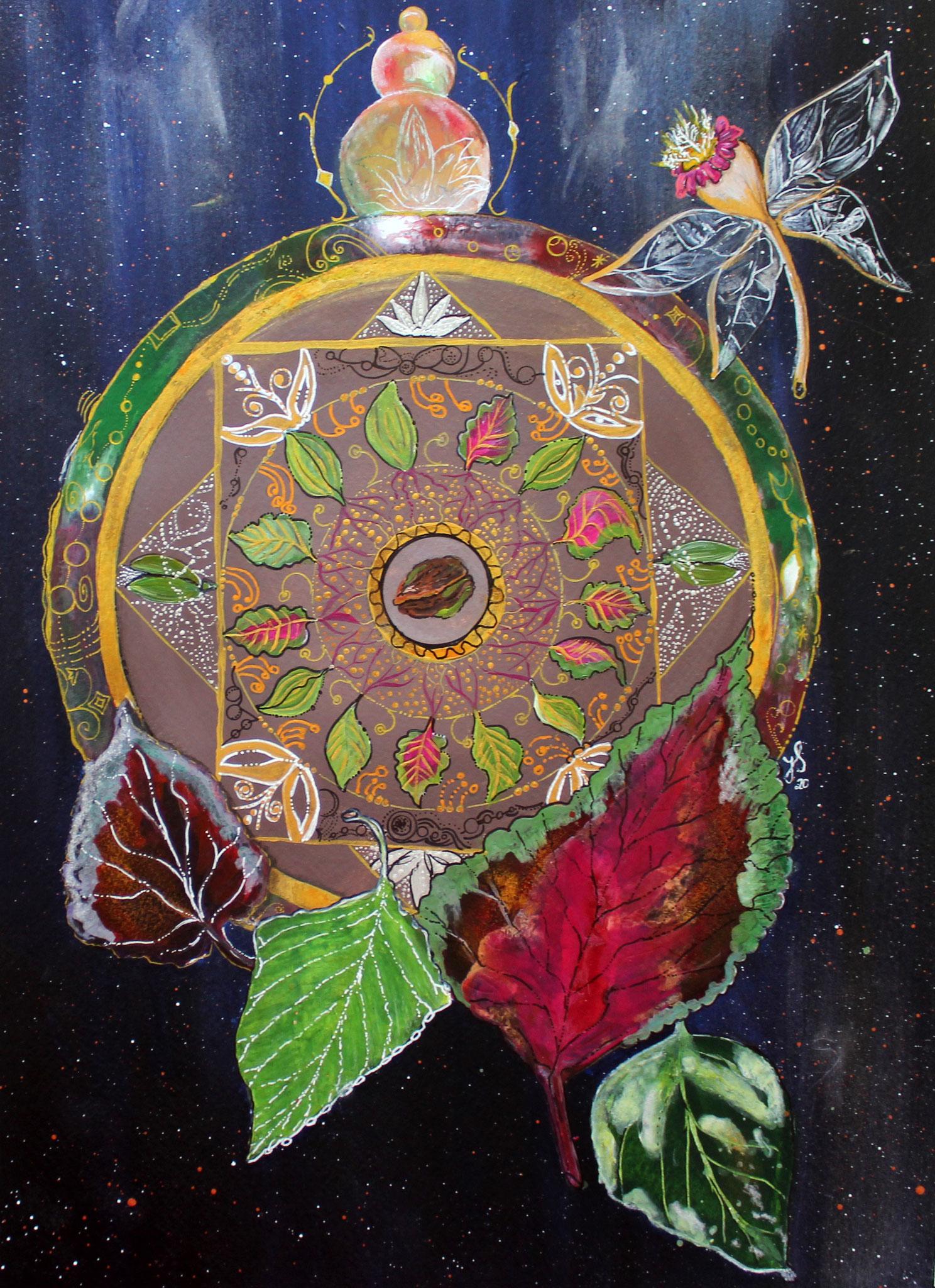 """Blättermandala""; Acryl; 40 x 30 cm; Aquarellpapier"