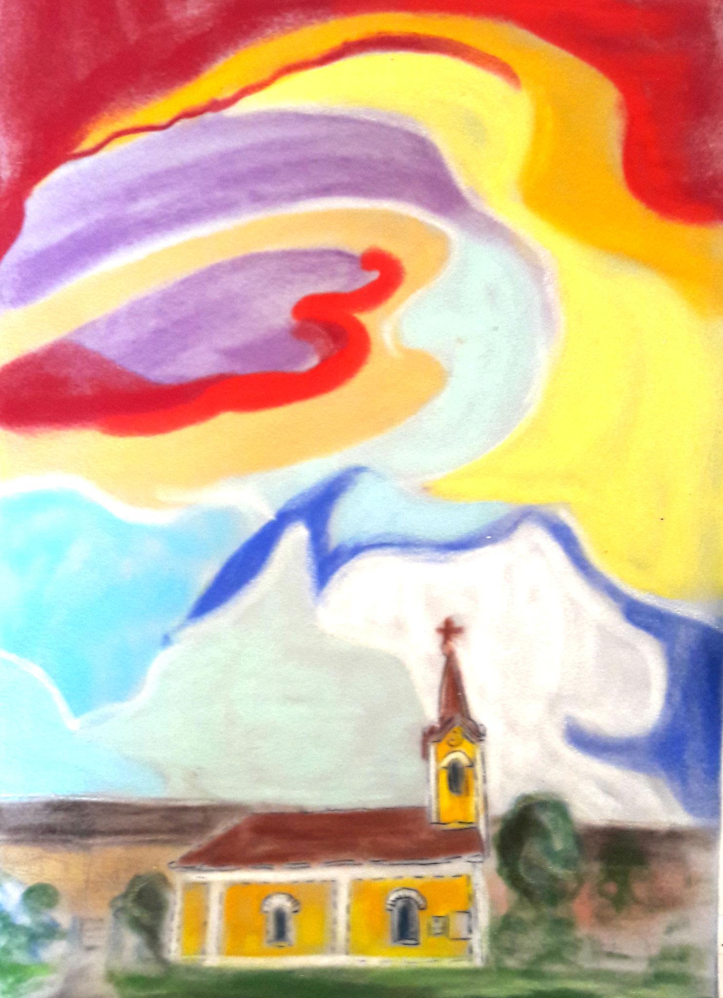 Erinnerungen an Weinpolz 3, Kreide auf Velours