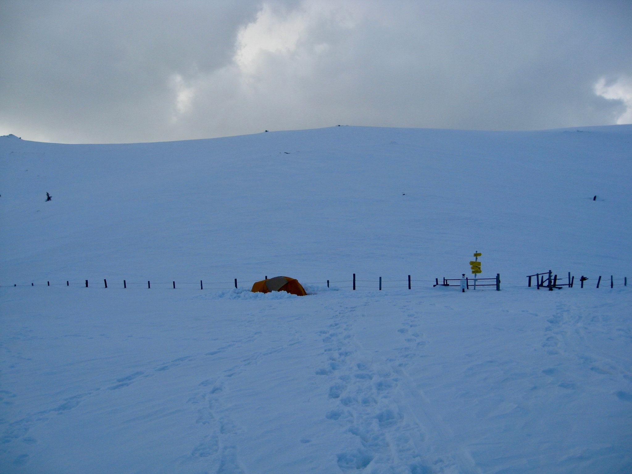 Der Blick von der Hütte auf das Zelt.