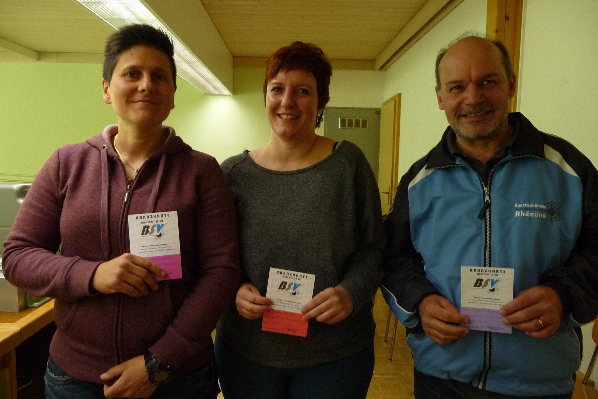 Das Siegertrio: v.l. Zora Radosavljevic, Erika Loretz, Andreas Egli
