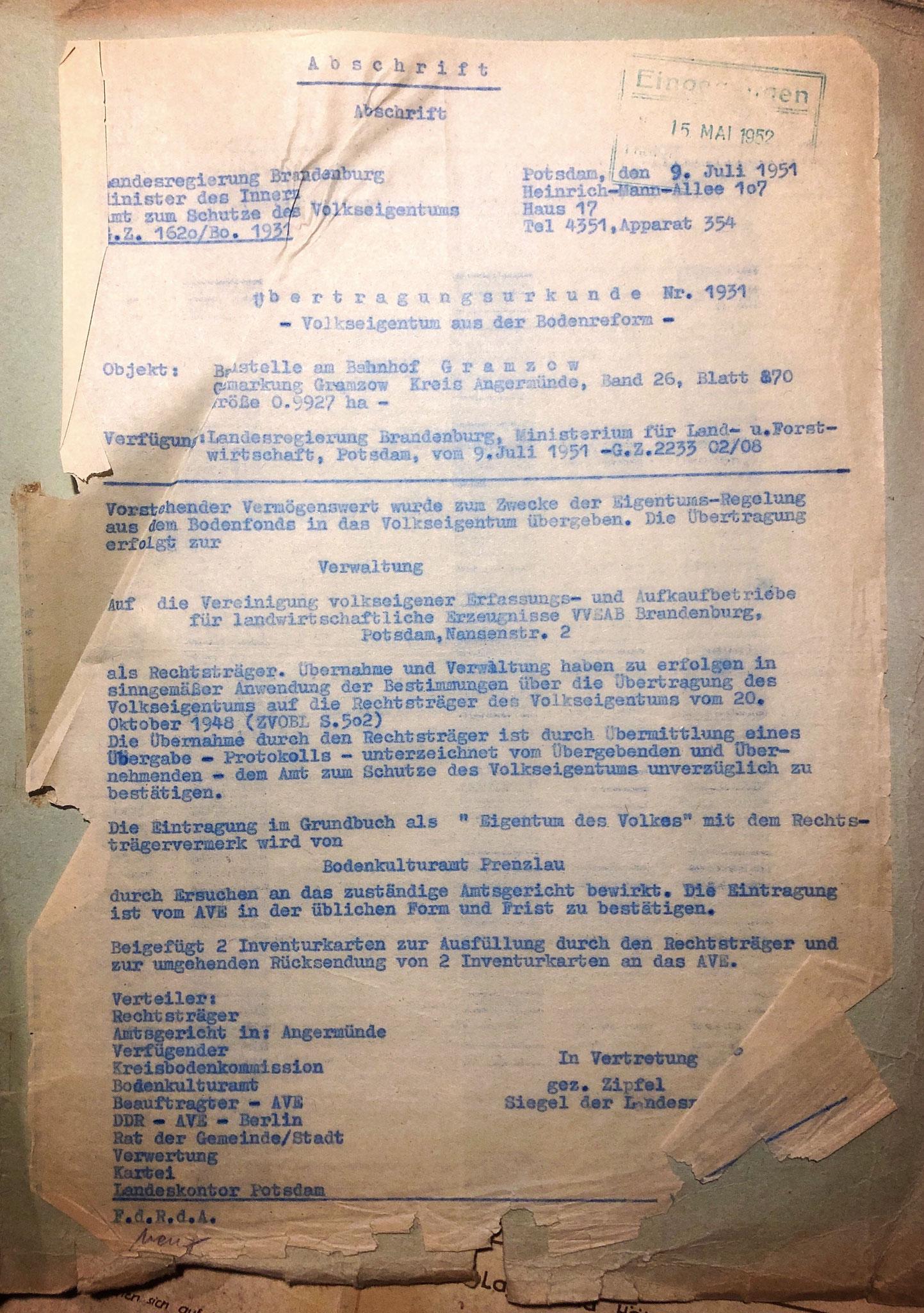 Volkseigentum aus der Bodenreform , Landesregierung Brandenburg 09.07.1951