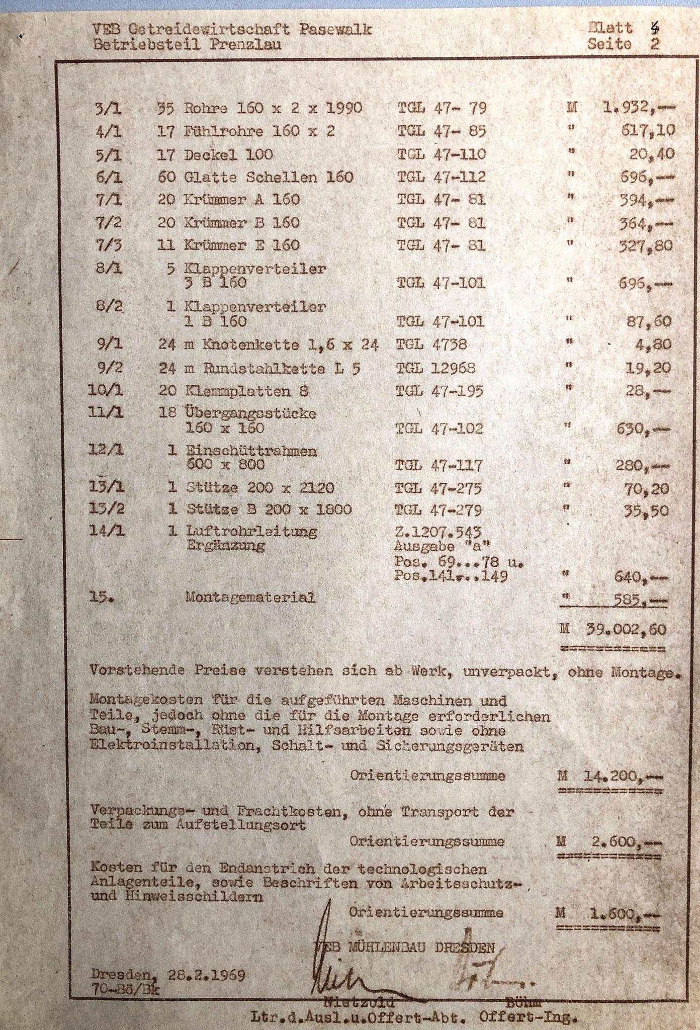 Auszug Projektkosten : Durchsatzerhöhung auf 30t/h  (1969)