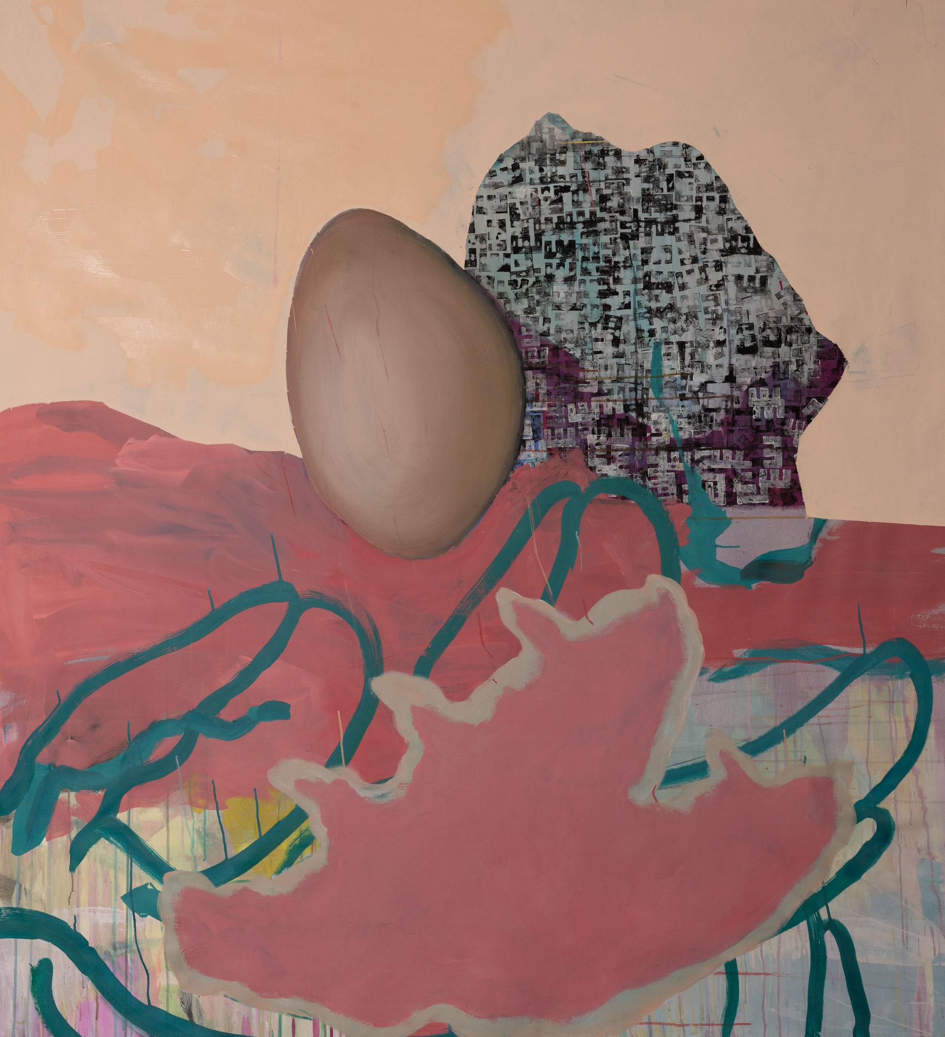 """""""Rosa Ei"""" 170 x 150 cm - Acryl auf Leinwand"""