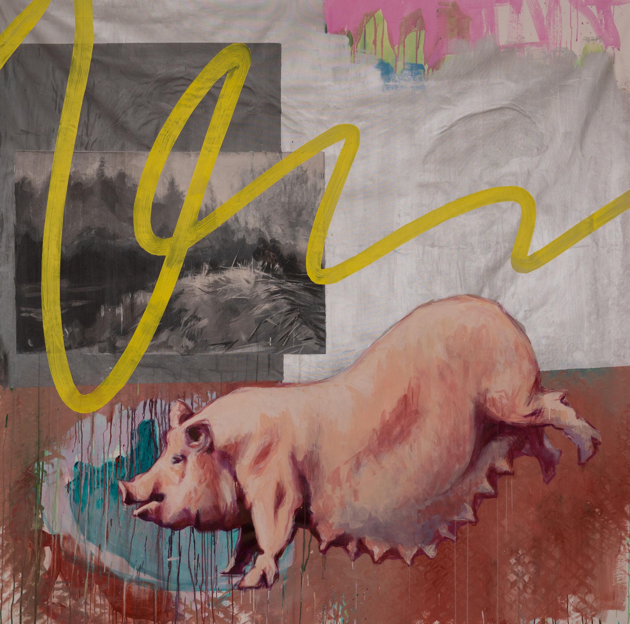 """""""Schwein am See"""" 200 x 200 cm - Acryl/Öl auf Leinwand"""