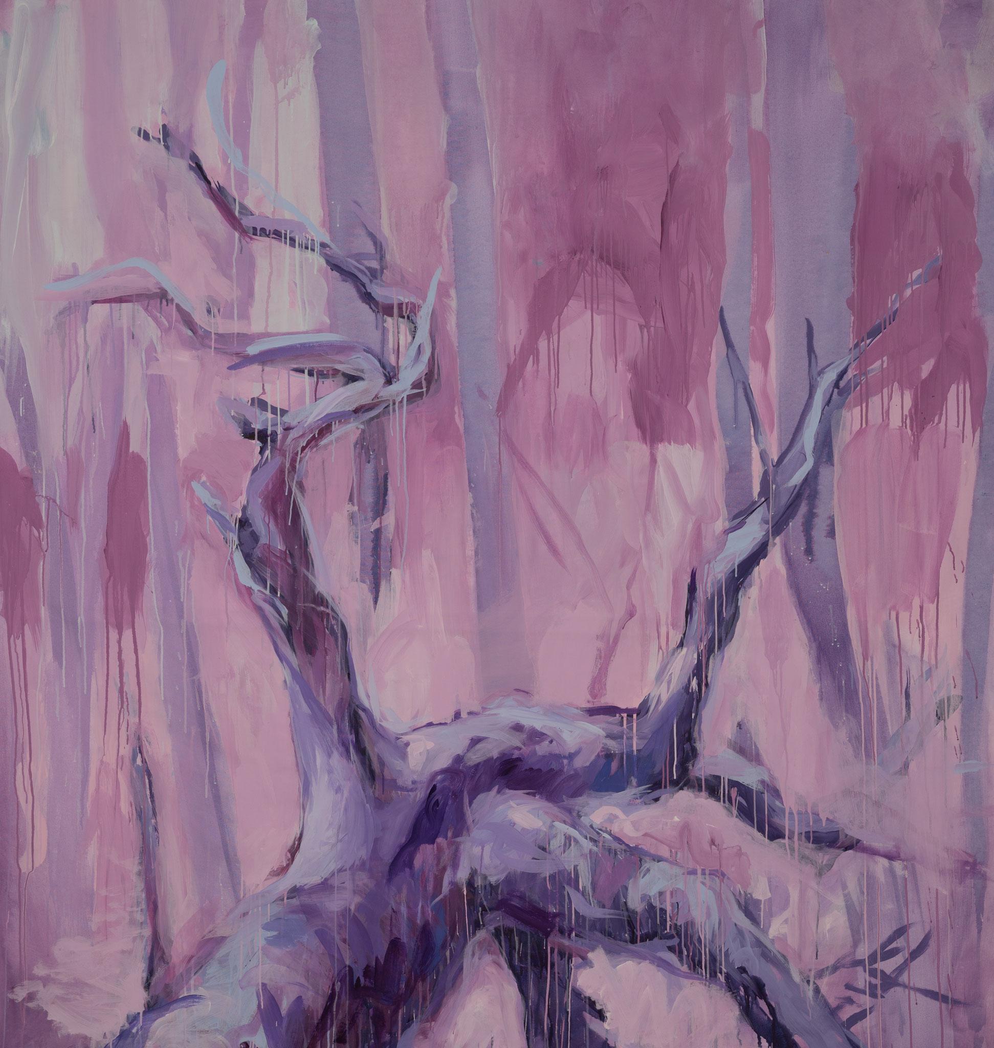 """Lila Forest Dream"" 215 x 200 cm - Acryl auf Leinwand"