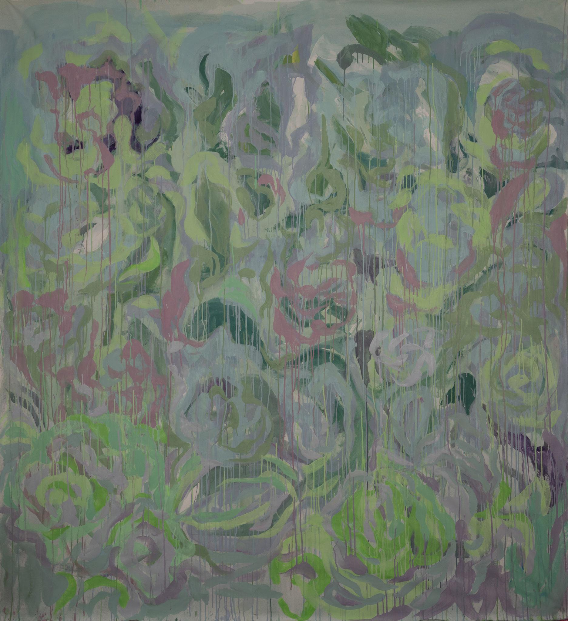 """Flower Drops"" 220 x 200 cm - Acryl auf Leinwand"