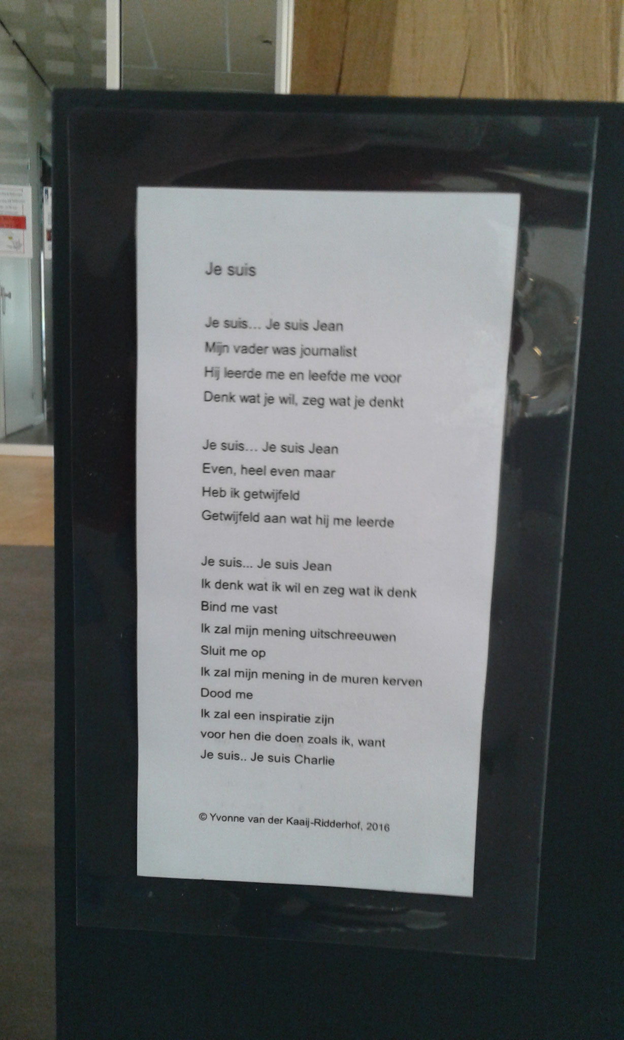 Gedicht (Y.v.d. Kaaij)  bij 'Je suis Charlie'