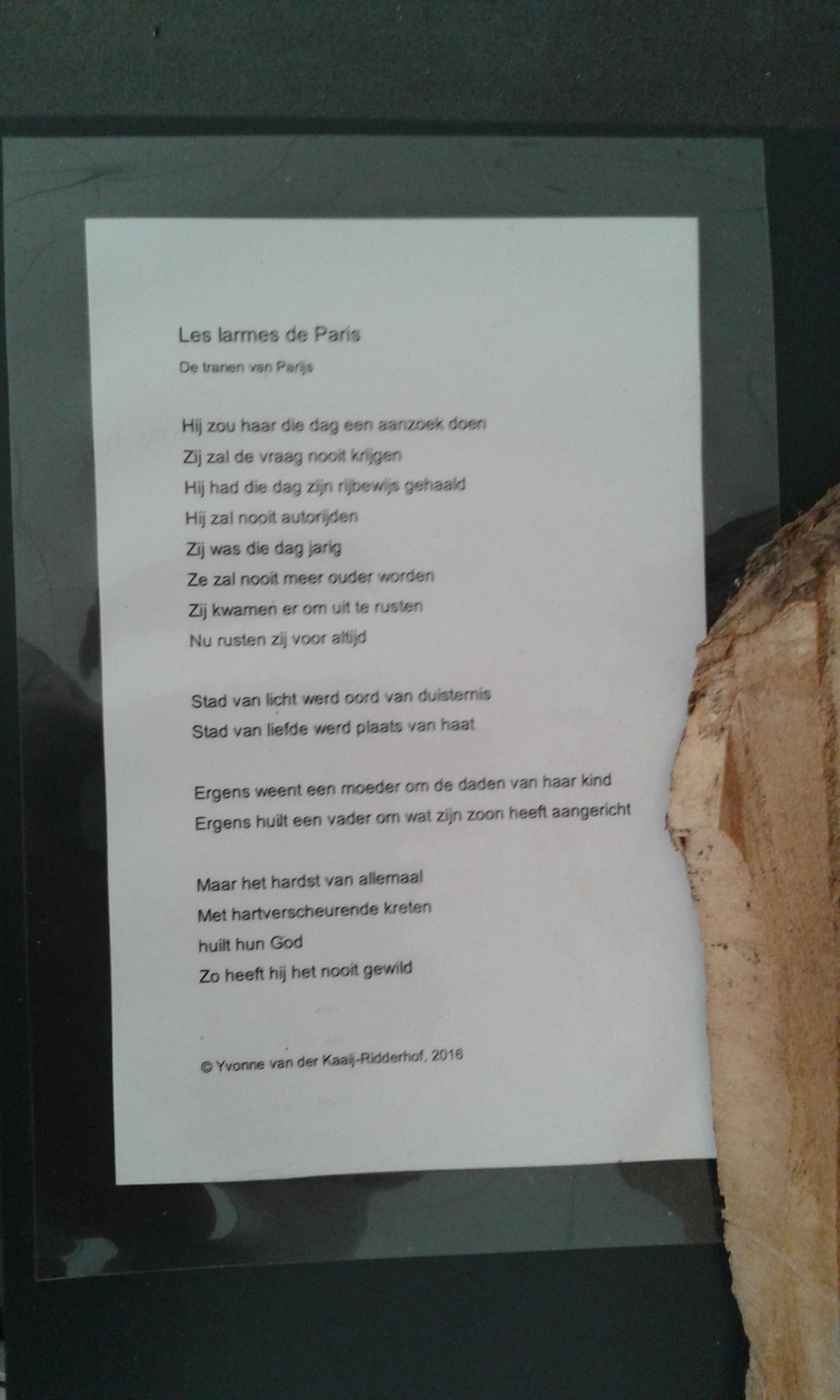 Gedicht (Y.v.d. Kaaij)  bij 'Aanslag in Parijs'