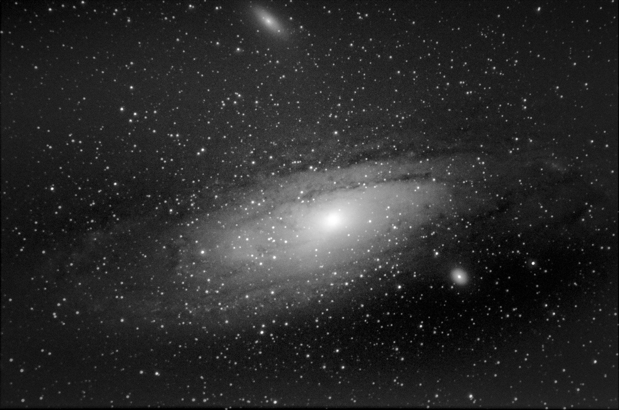 M31 - galaxie d'andromède (19 poses de 25 s à 3200 iso- 10 darks- pas de flat -Loïc  THULLIEZ- lunette achromatique 150/750 / HEQ5 motorisée non guidée/APN pentax K50  - traitement iris/lightroom) passé en N&B sous lightroom, à reprendre ss IRIS