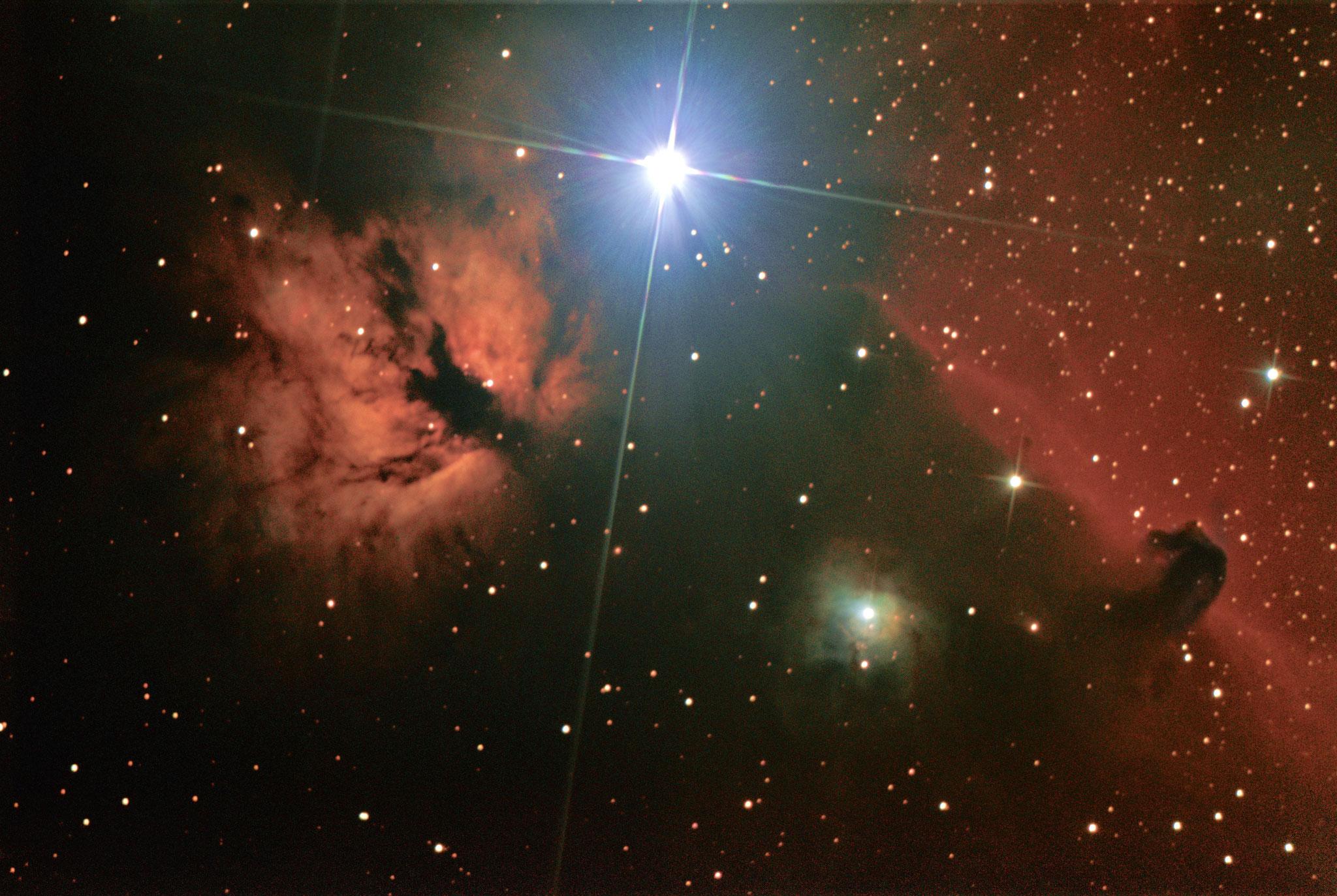 Nébuleuses de la Flamme (NGC 2029) & de la tête de cheval (IC434) - Stéphane PICQUETTE -Newton 200/1000 - monture NEQ5, caméra ZWO 294MC refroidie, 290 poses de 30s (gain 390) - 30 dark, 30 offset, 10 flat, traitement avec logiciel SIRIL et photoshop
