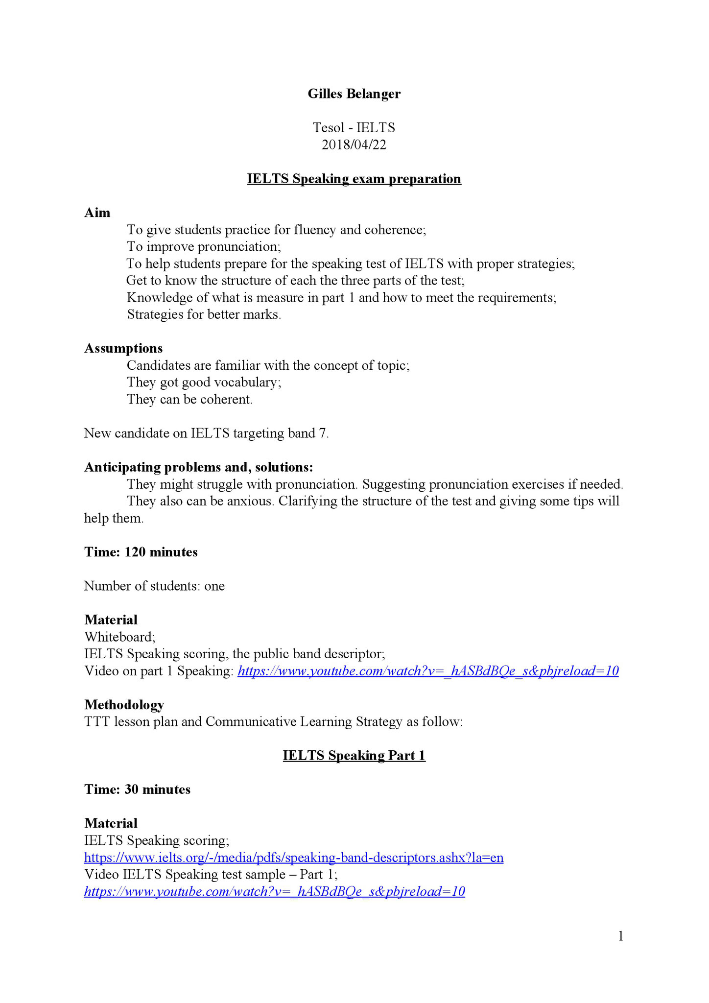 Example of Lesson plan (IELTS Speaking test prep.) 1/3