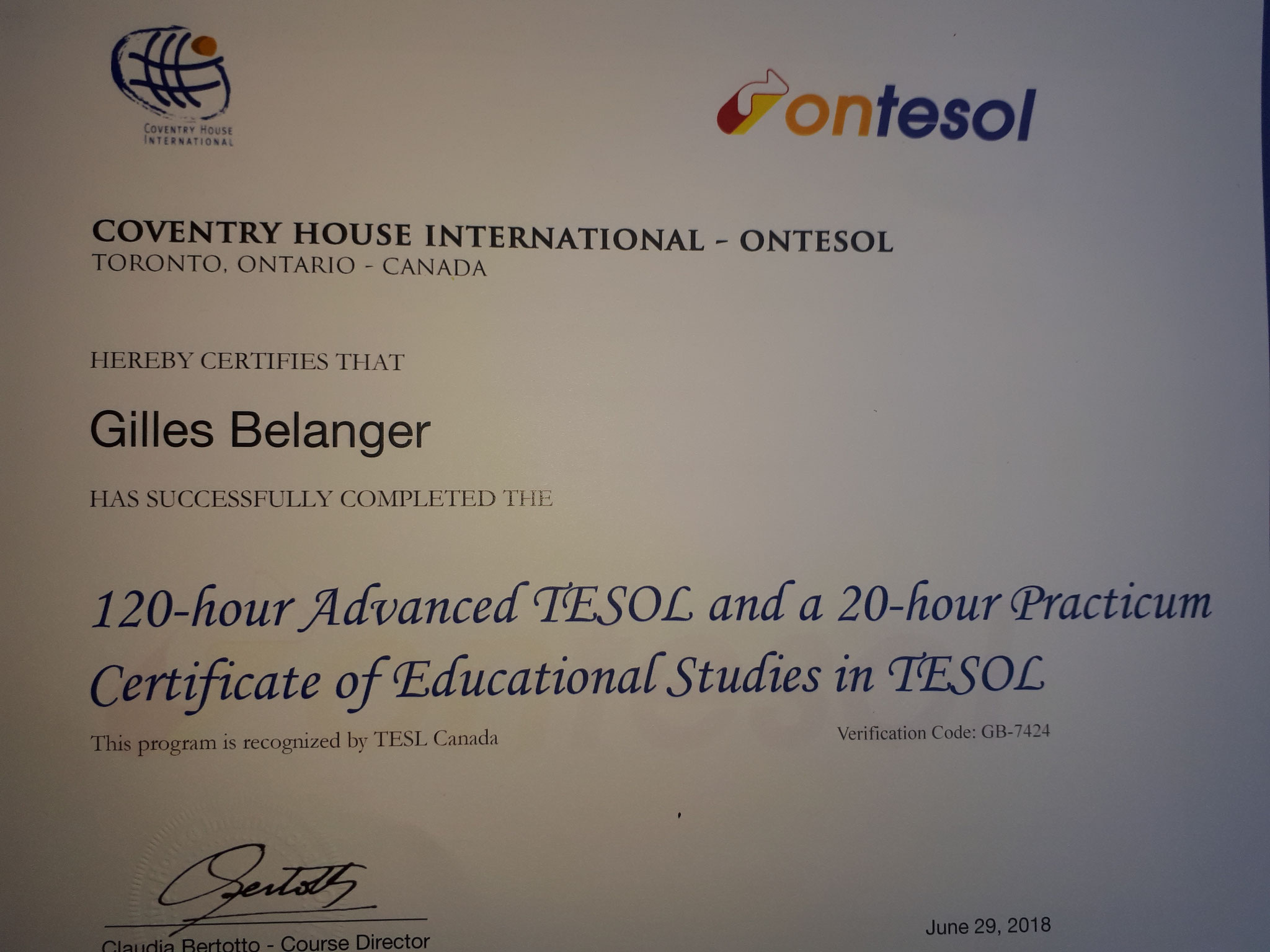 160 hours training on 120-hour Advanced TESOL plus 20-hour practicum and, IELTS Specialist courses; TESL Canada Federation accreditation